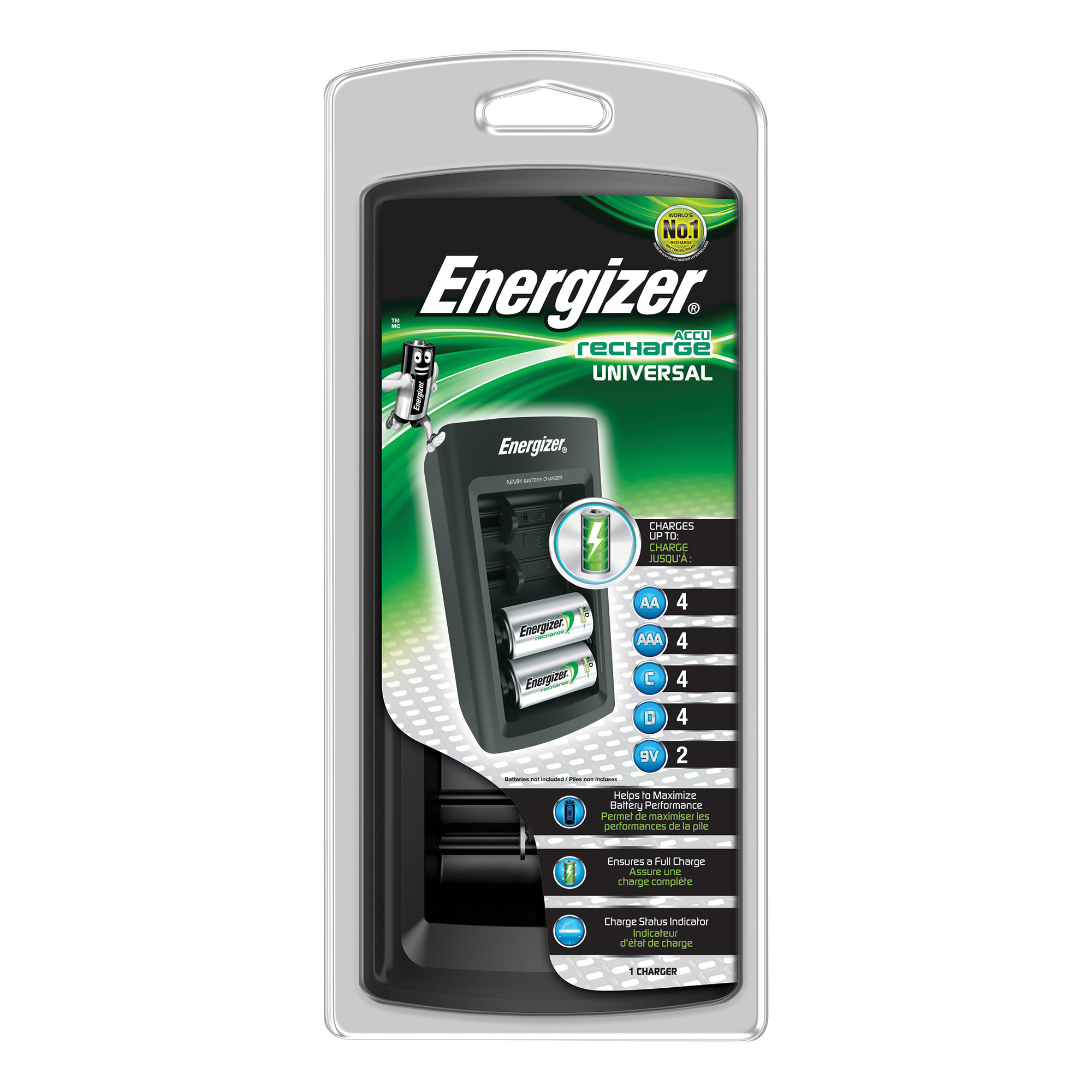 Image for Energizer Universal Battery Charger CHEUF with Smart LED 2-5Hrs Time for AAA AA C D 9V Ref 629874