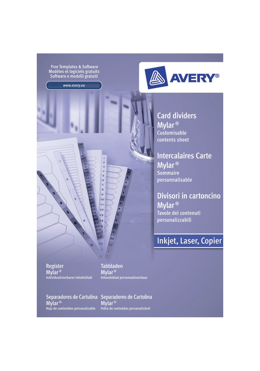 Avery Mylar Dividers Multipunched 1-12 A4 White Code 05132061