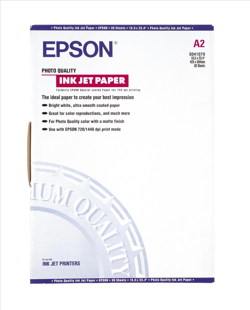 Epson Photo Quality Inkjet Paper Matt 102gsm Max.1440dpi A2 Ref S041079 [30 Sheets]