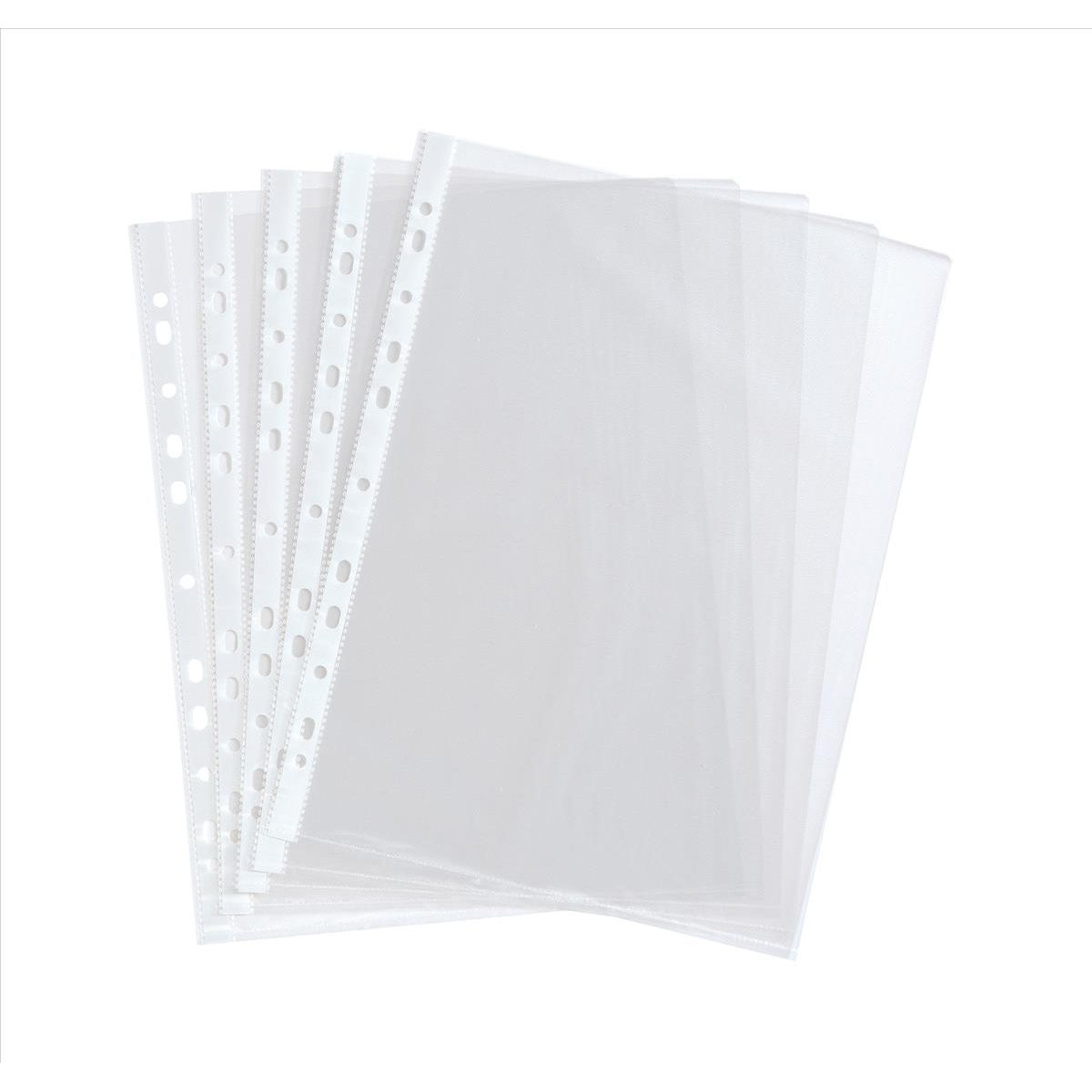 5 Star Value Punched Pocket Polypropylene Embossed Top-opening 40 Microns A4 Clear [Pack 100]