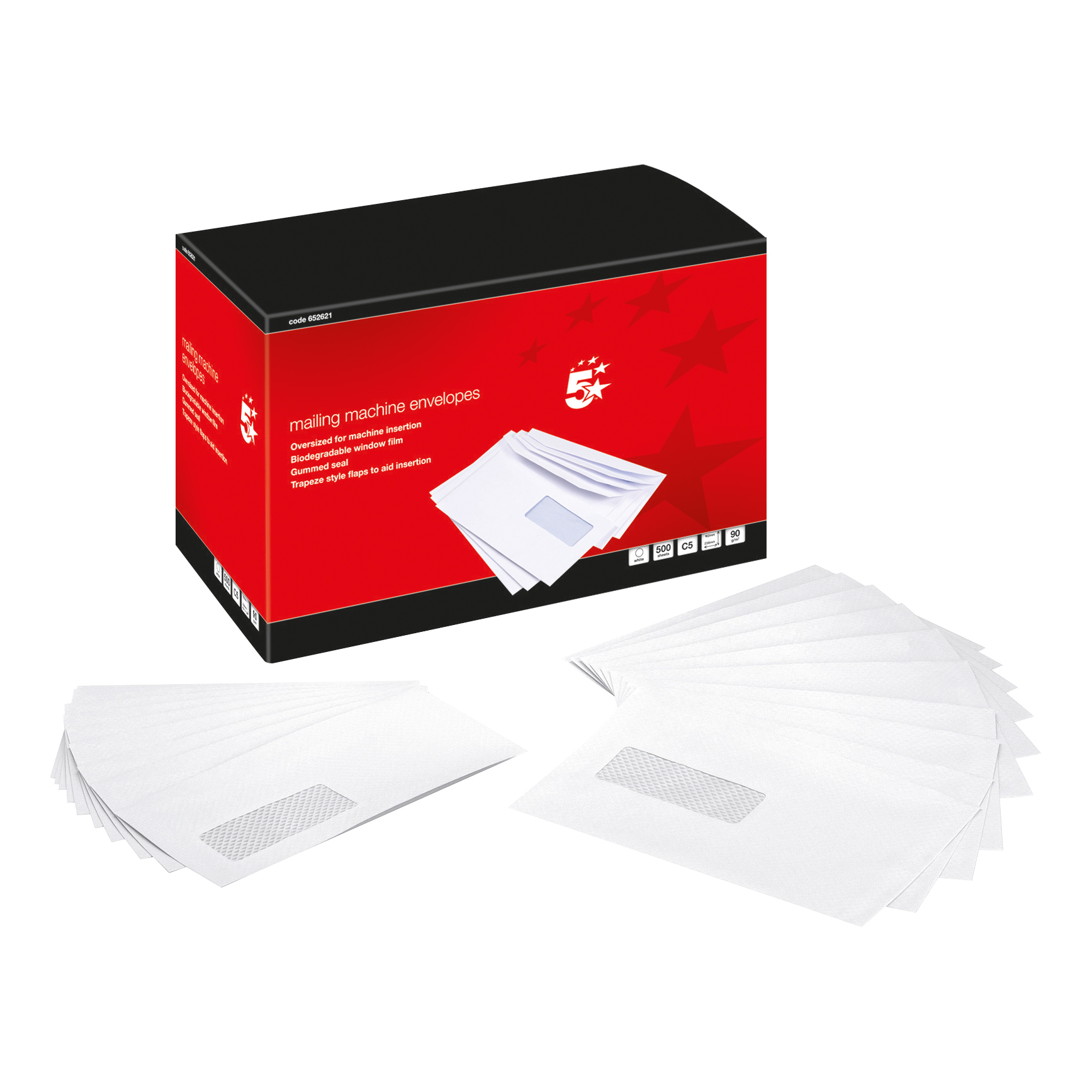 5 Star Mail Machine Envelopes Window Gummed 80gsm C5 White