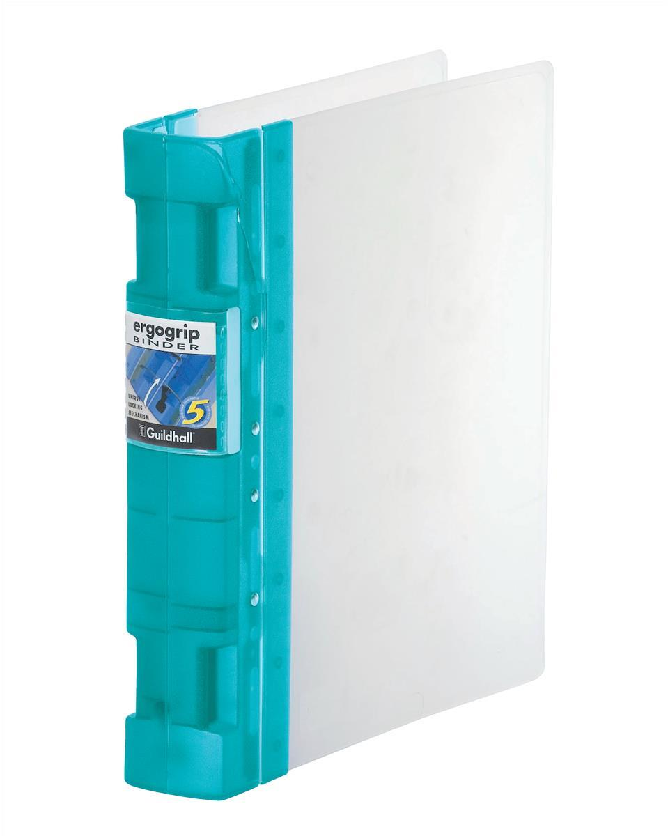 Guildhall GLX Ergogrip Binder Polypropylene 8 Prong/4 Ring 55mm A4 Frost Green Code 4543