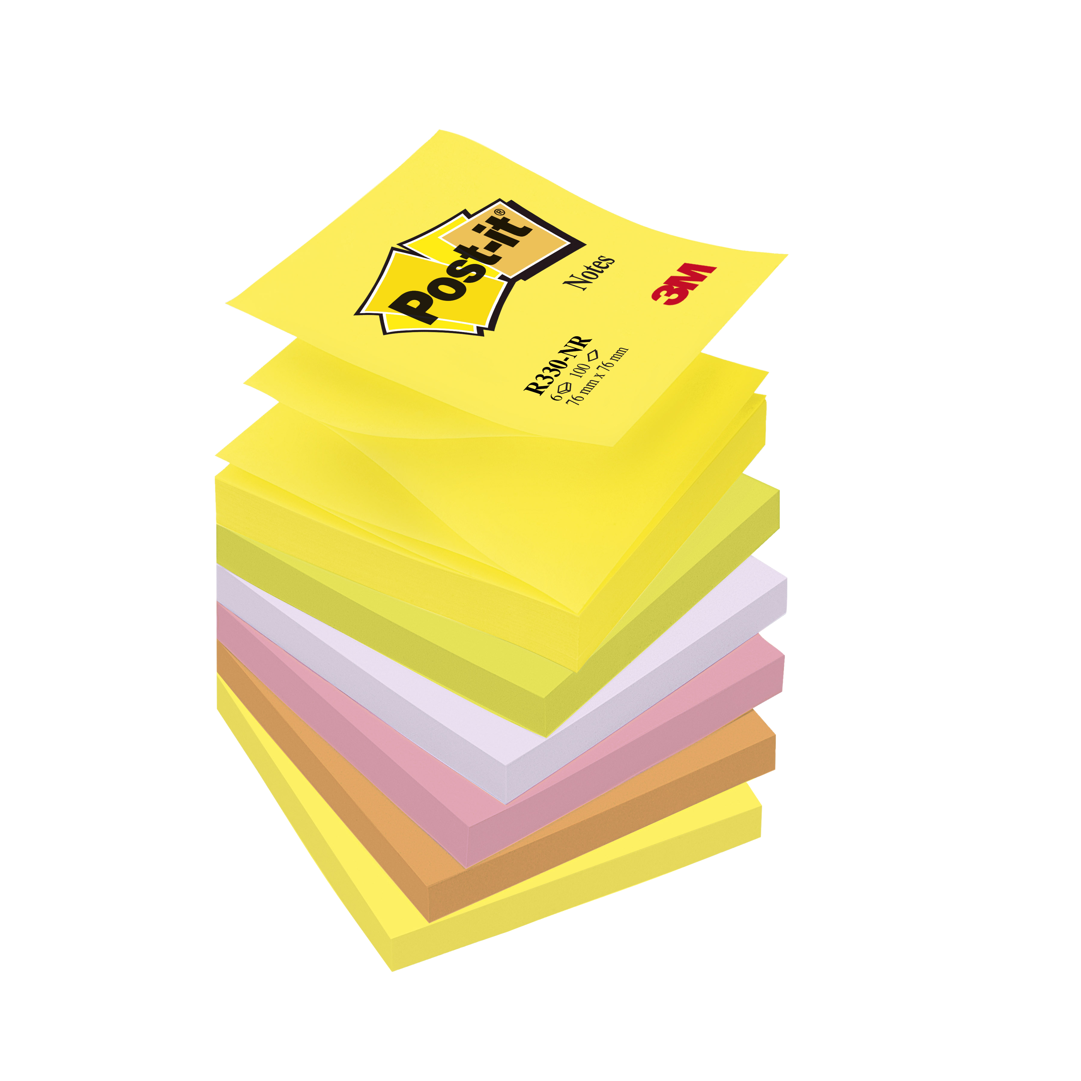 Post-it Z-Notes 76x76mm Neon Rainbow Ref R330NR [Pack 6]