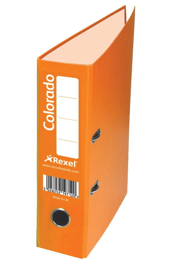 Rexel Colorado Lever Arch File Plastic 80mm Spine Foolscap Orange Ref 28116EAST [Pack 10]