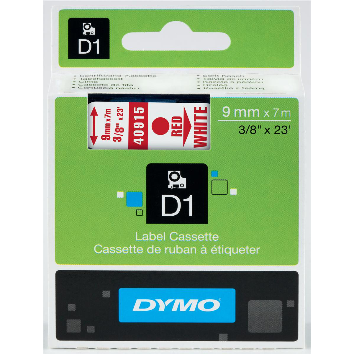 Dymo D1 Tape for Electronic Labelmakers 9mmx7m Red on White Ref 40915 S0720700