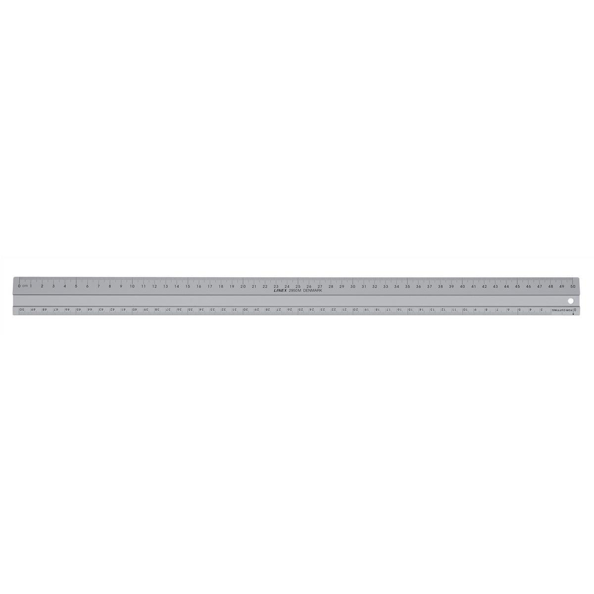 Linex Hobby Cutting Ruler Anti-slip Light Aluminium 1 Bevelled Side 500mm Silver Ref LXE2950M