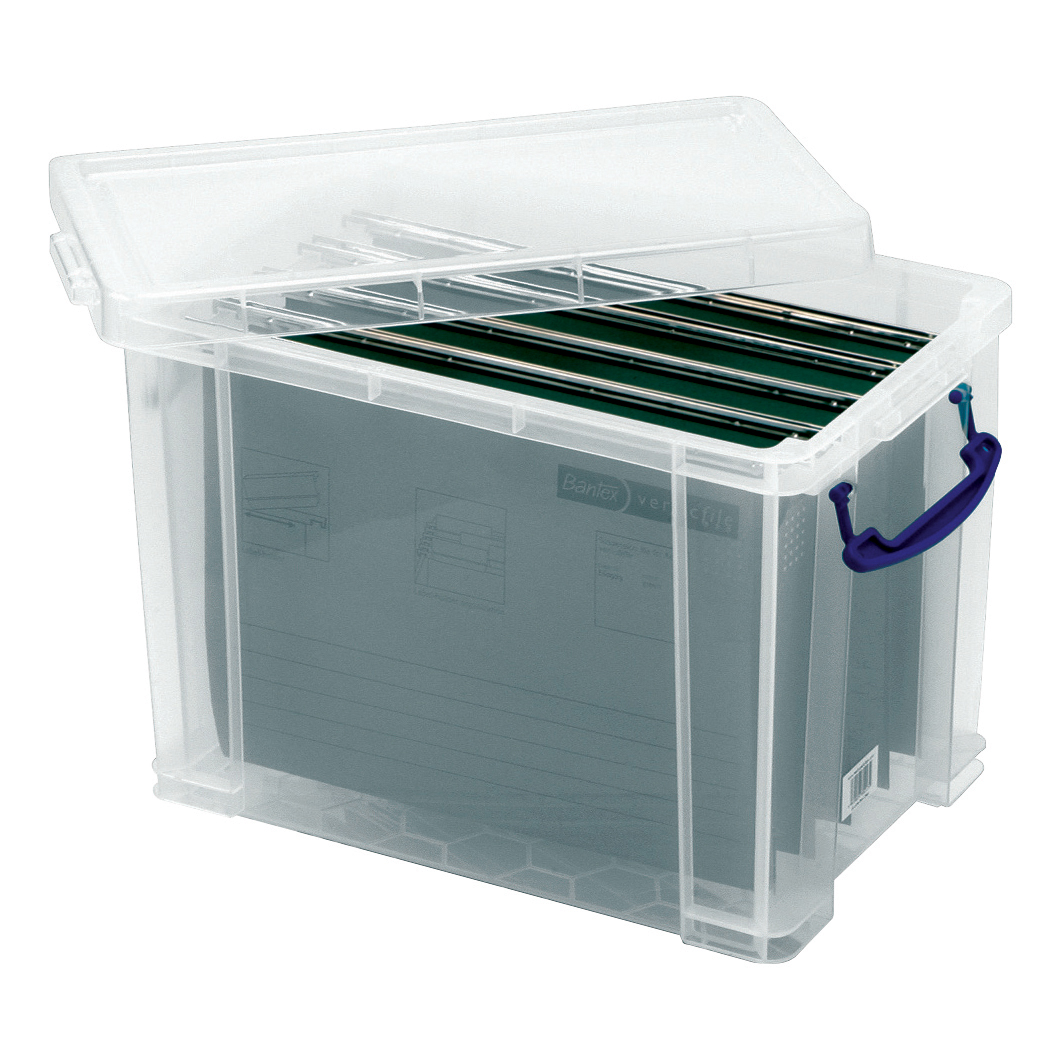 Really Useful Filing Box Plastic with 10 suspension files F/cap 24 Litre W270xD465xH290mmRef24C&10susp