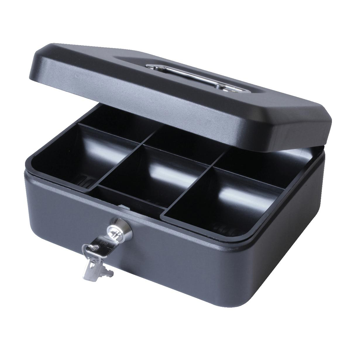 Cash Box with Lock & 2 Keys Removable Coin Tray 8 Inch W200xD160xH70mm Black