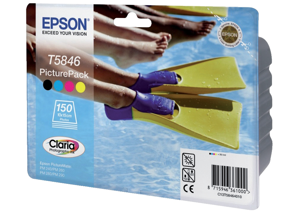 Epson T5846 Picture Pack Inkjet Cartridge Photo Colour + 150 Sheets Ref C13T58464010