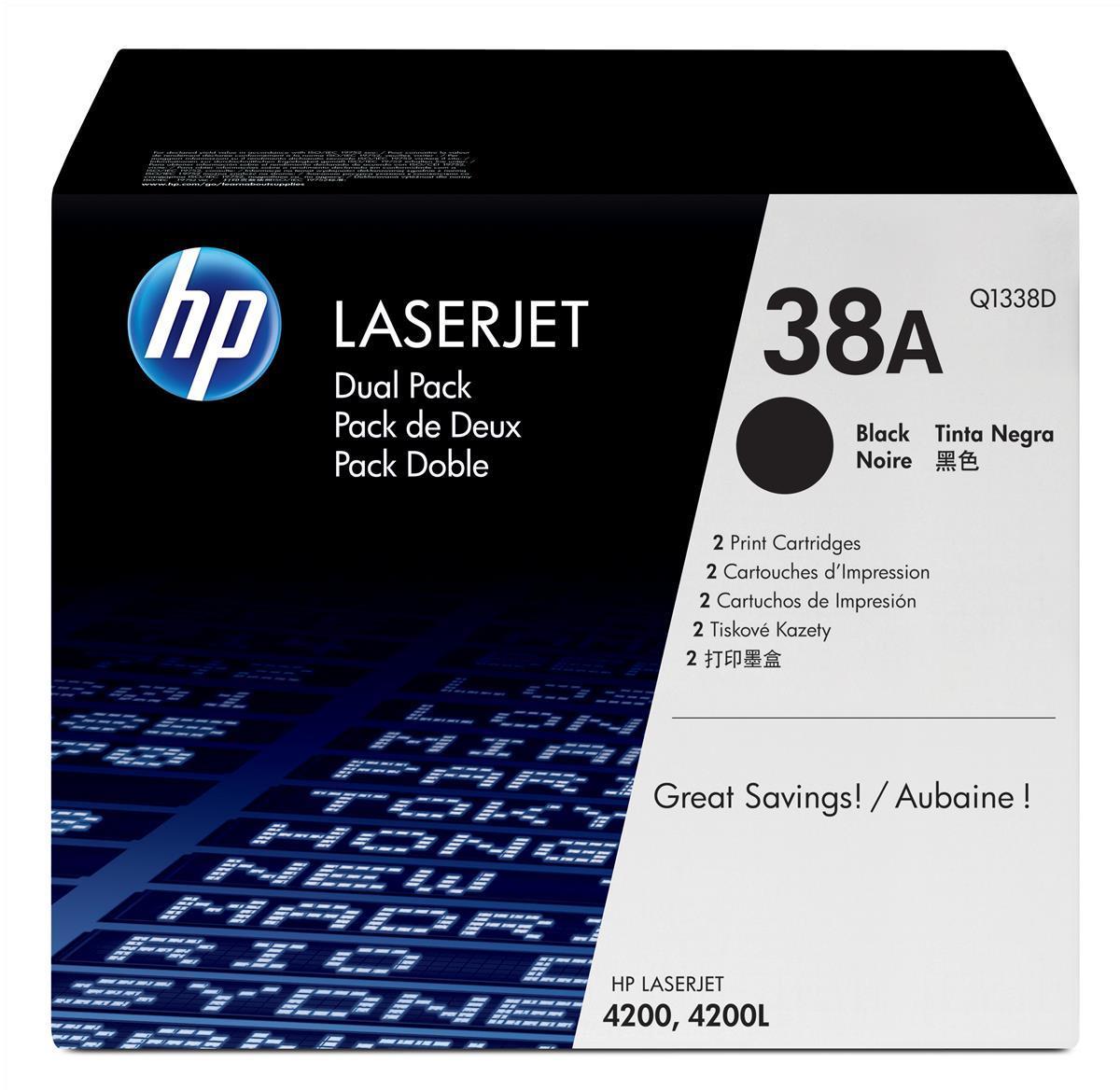 HP No.38A Toner Cartridge Black Twin Pack Code Q1338D