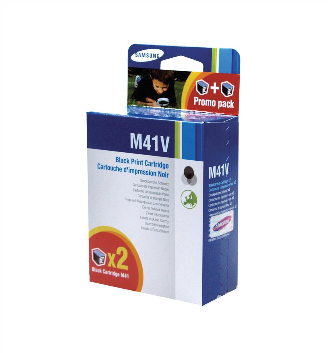 Samsung M41 Black Inkjet Cartridges (Pack of 2) INK-M41V/ELS