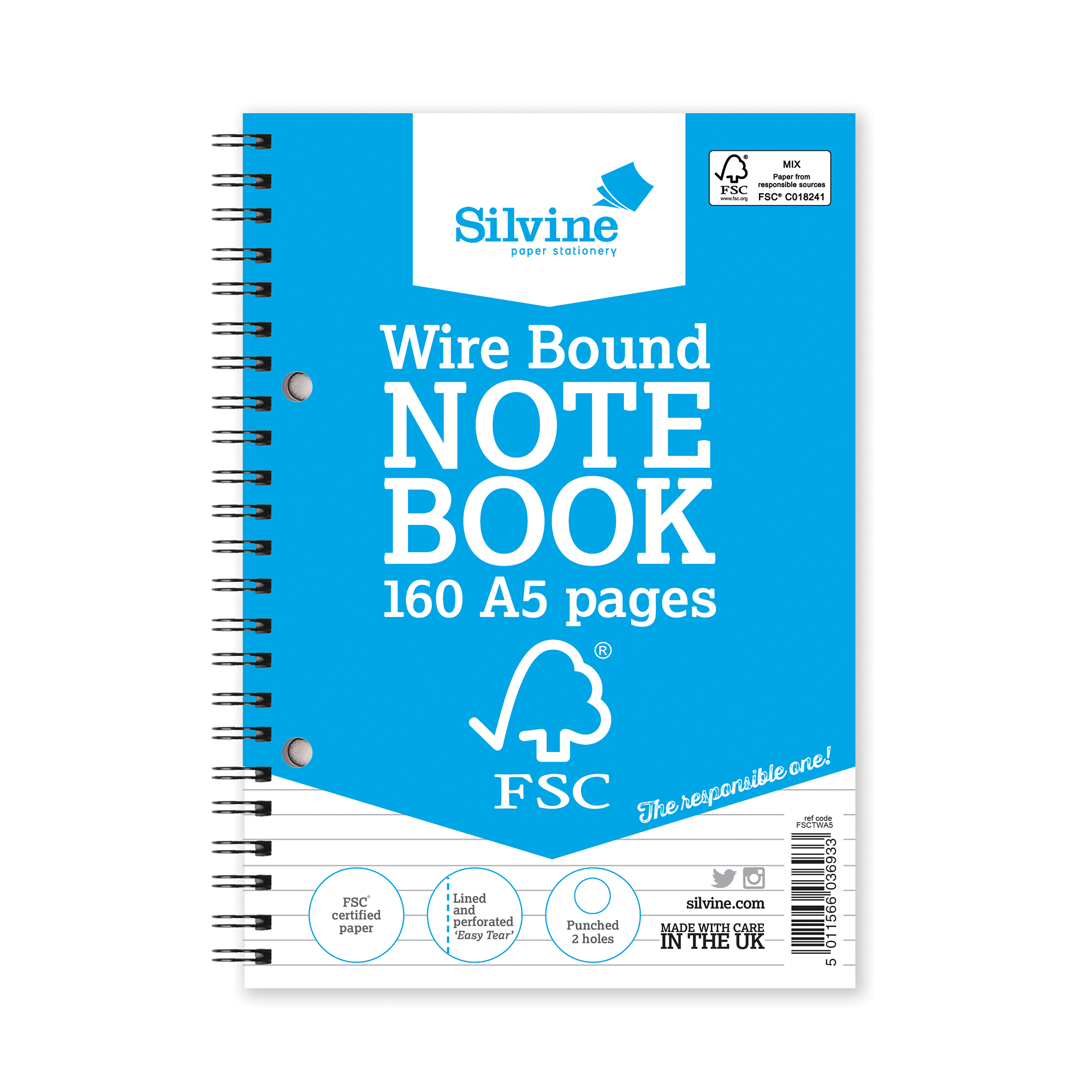 Silvine FSC Notebook Wirebound 56gsm Ruled Perforated 160pp A5 Ref FSCTWA5 [Pack 5]