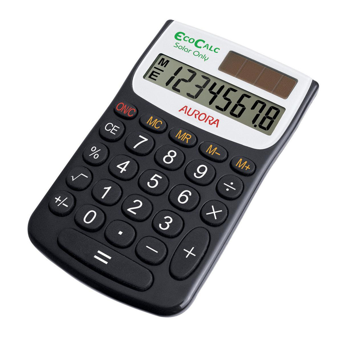 Image for Aurora EcoCalc Handheld Calculator 8 Digit 4 Key Memory Solar Power Recycled 62x9x102mm Black Ref EC101