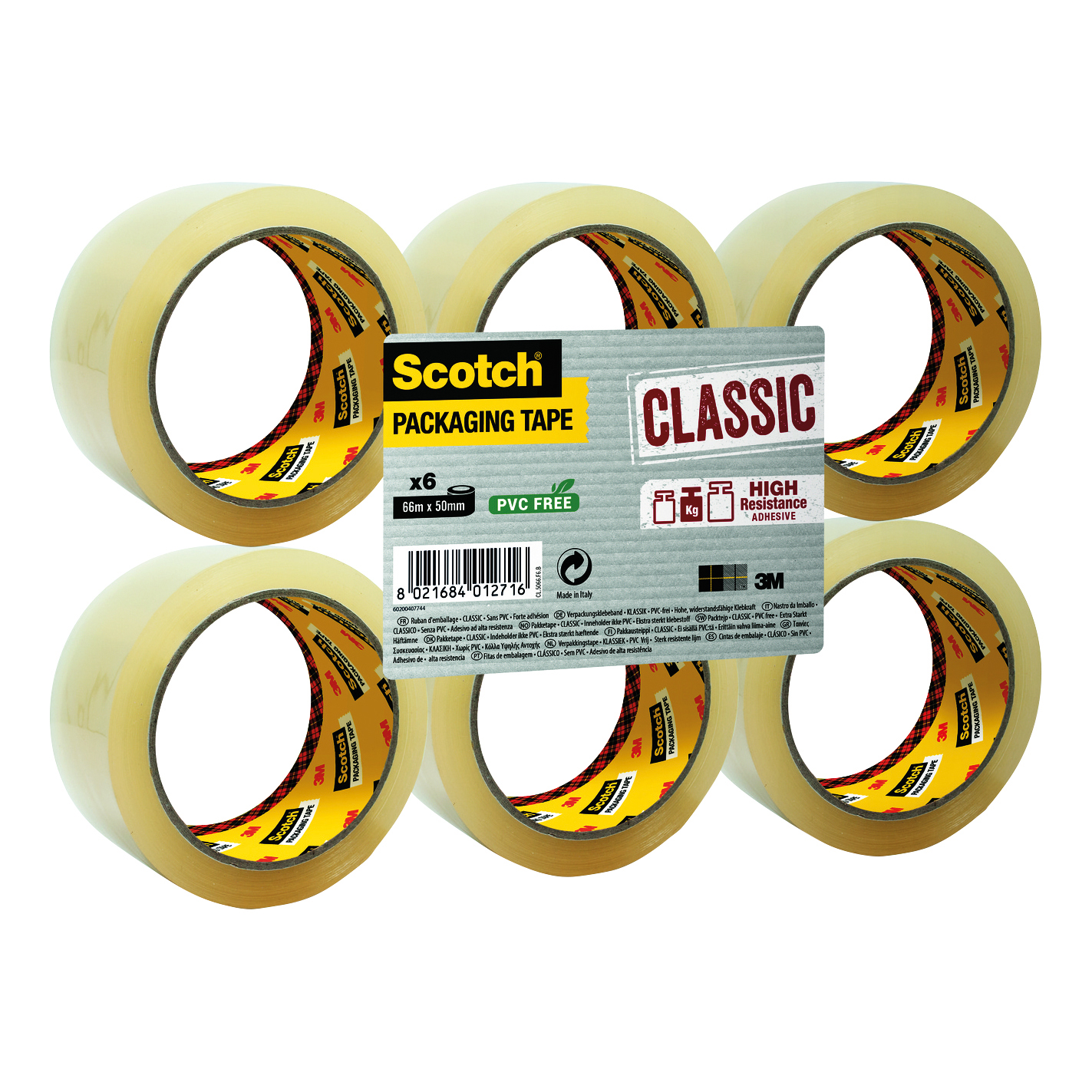 Scotch Classic Packaging Tape 50mmx66m Clear Ref CL5066F6T [Pack 6]