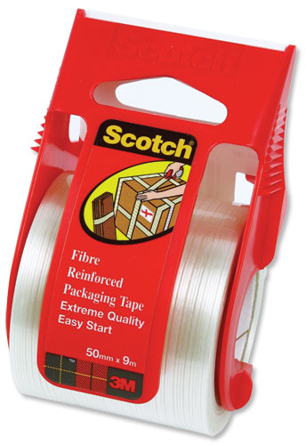 Scotch Packaging Tape Extreme Quality in Dispenser for 10kg and above 50mmx9m Silver Ref X5009D