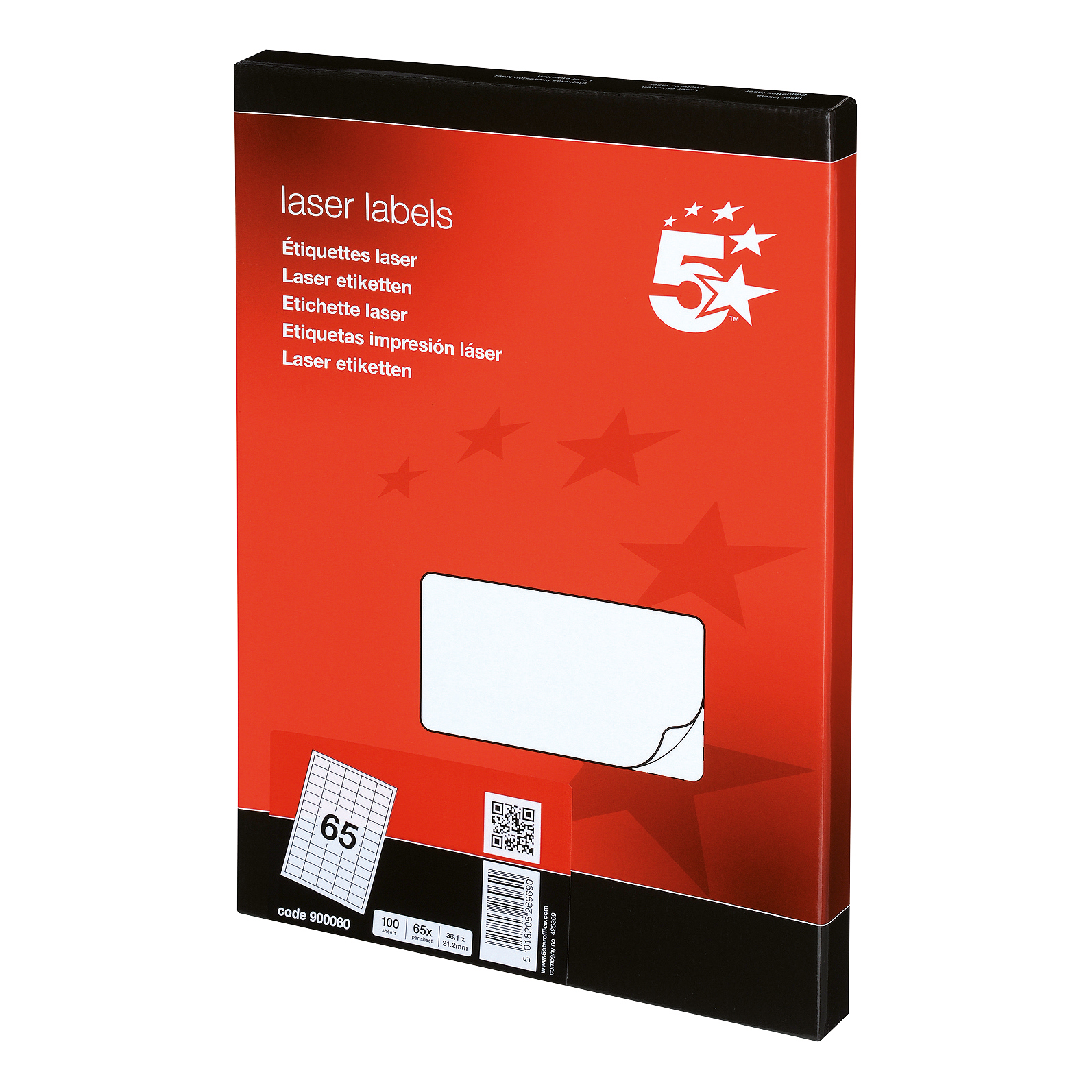 5 Star Office Multipurpose Labels Laser 65 per Sheet 38.1x21.2mm White [6500 Labels]