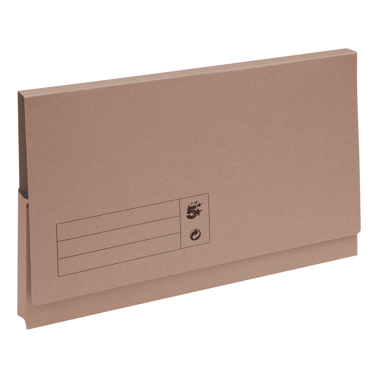 5 Star Office Document Wallet Full Flap 285gsm Recycled Capacity 32mm Foolscap Buff [Pack 50]