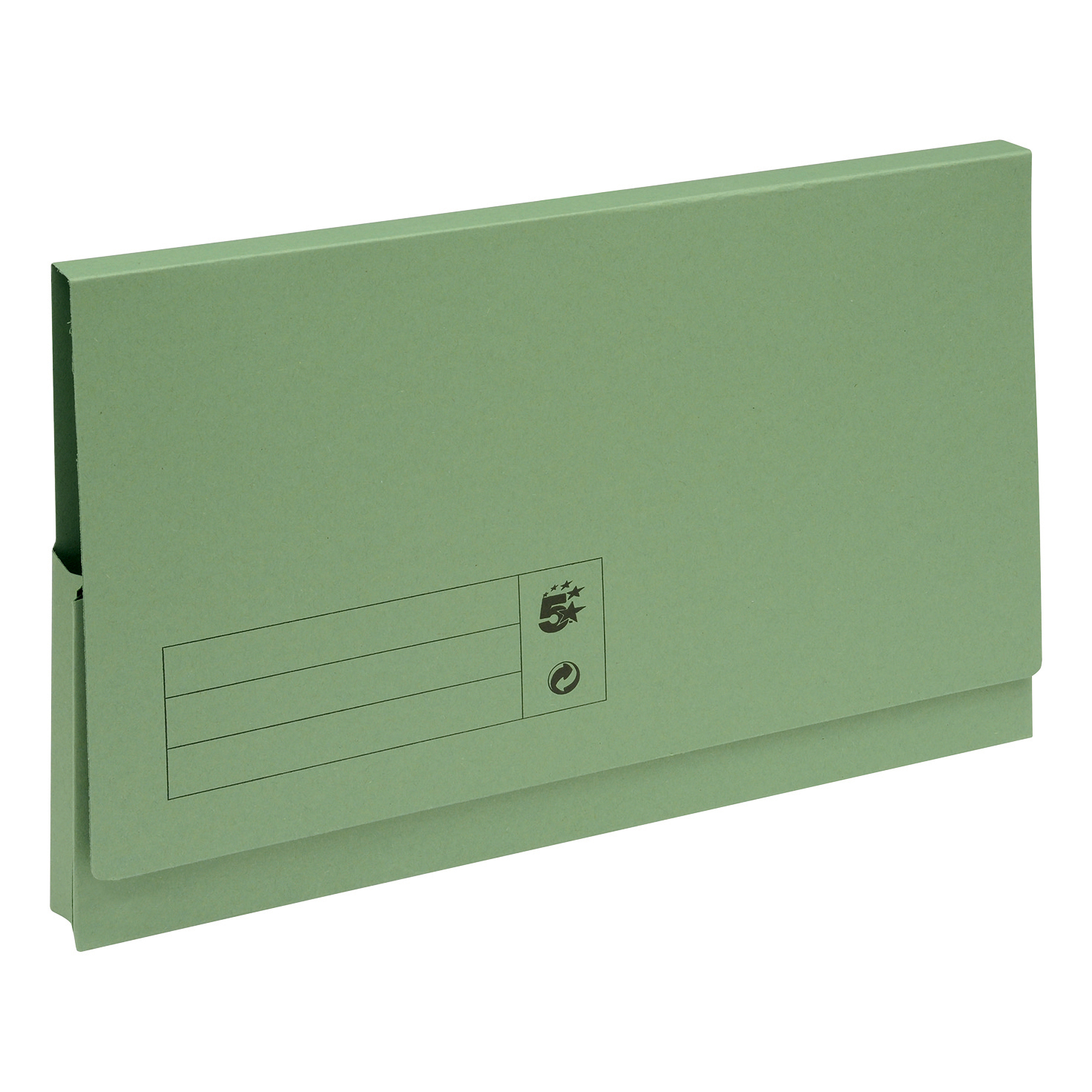 5 Star Office Document Wallet Full Flap 285gsm Recycled Capacity 32mm Foolscap Green [Pack 50]