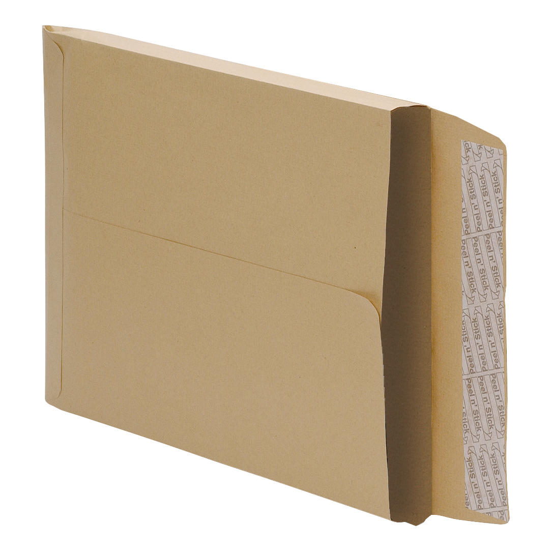5 Star Office Envelopes Peel and Seal Gusset 25mm 115gsm Manilla C4 Pack 125