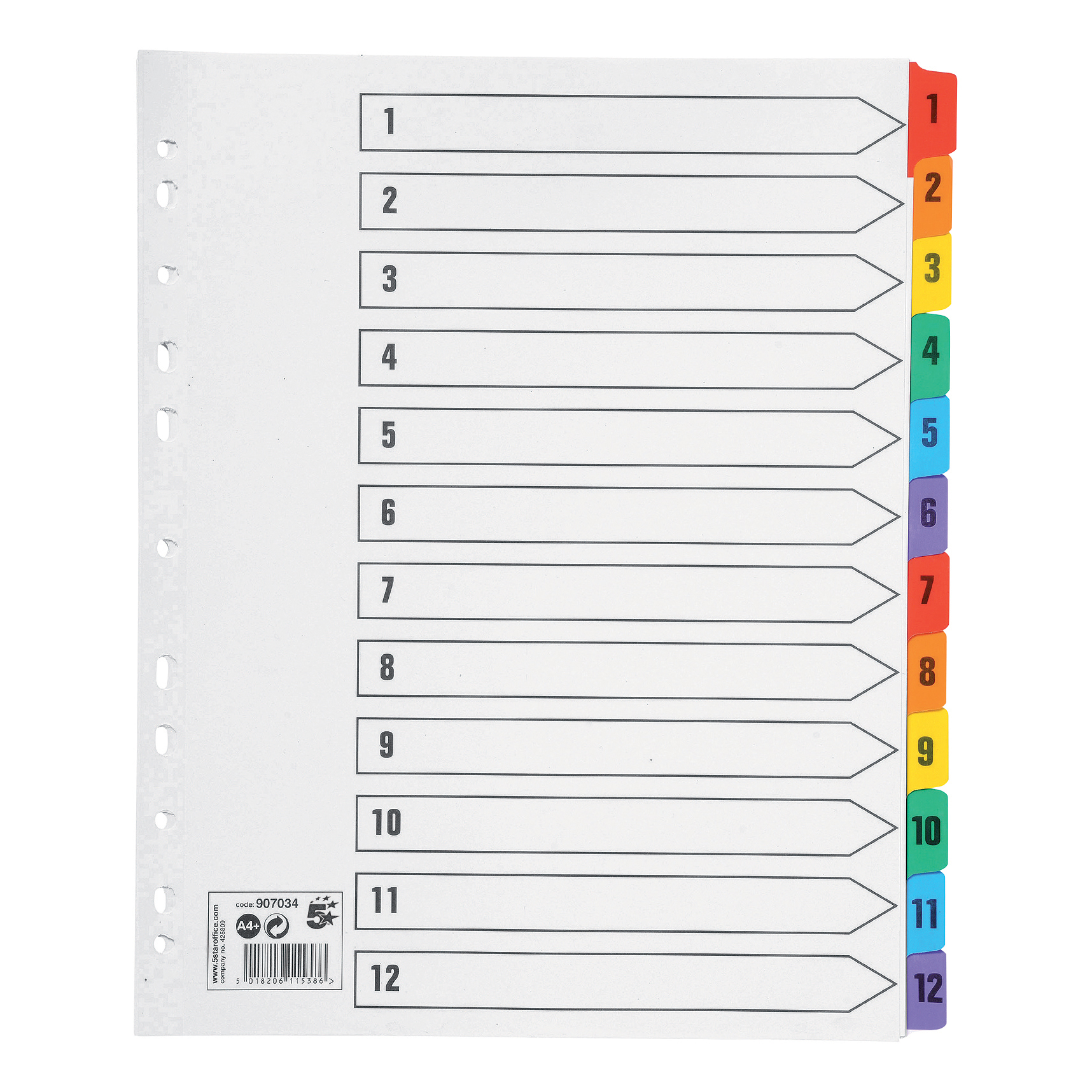 5 Star Office Maxi Index Extra-wide 150gsm Card with Coloured Mylar Tabs 1-12 A4 White