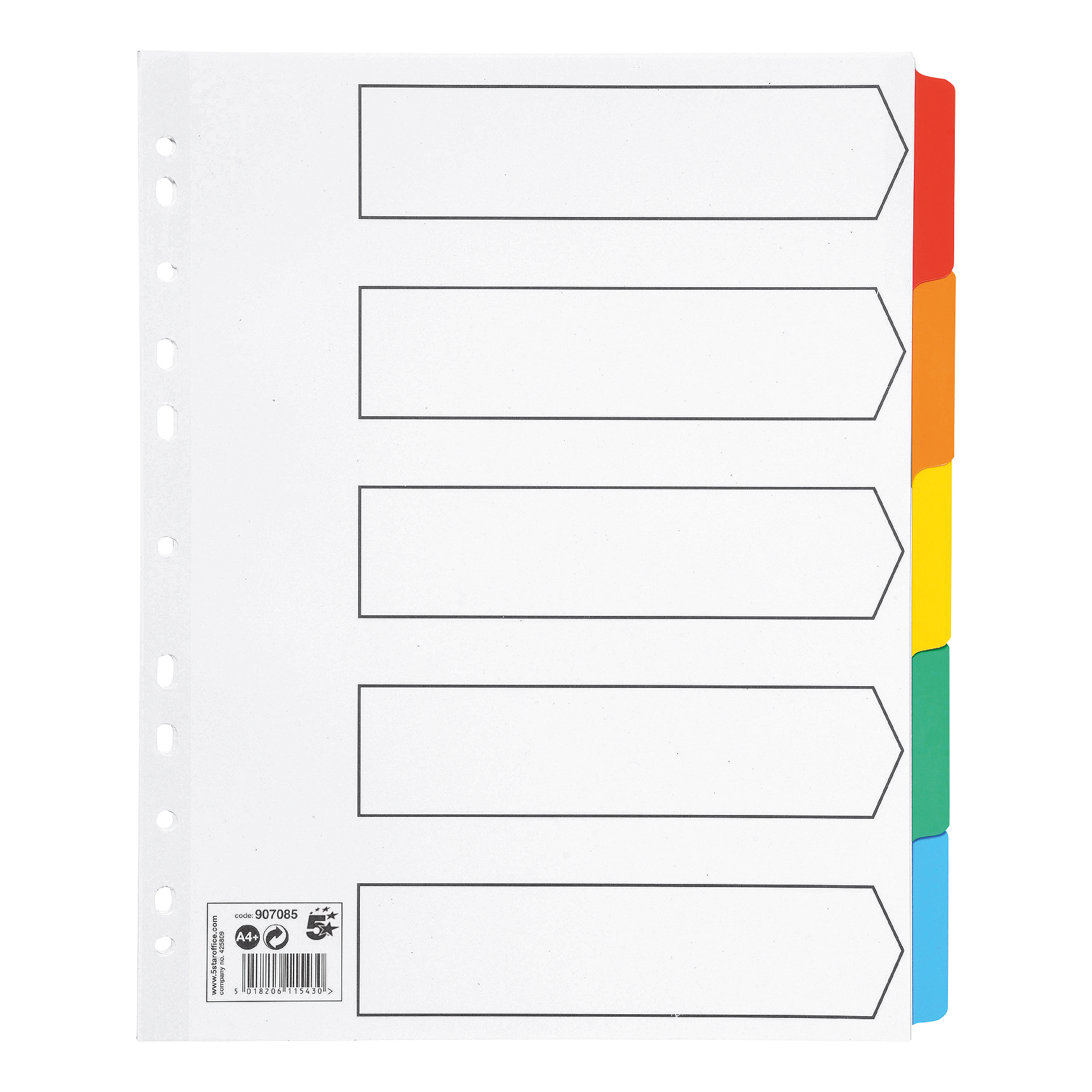 5 Star Office Maxi Index Extra-wide 150gsm Card with Coloured Mylar Tabs 5-Part A4 White