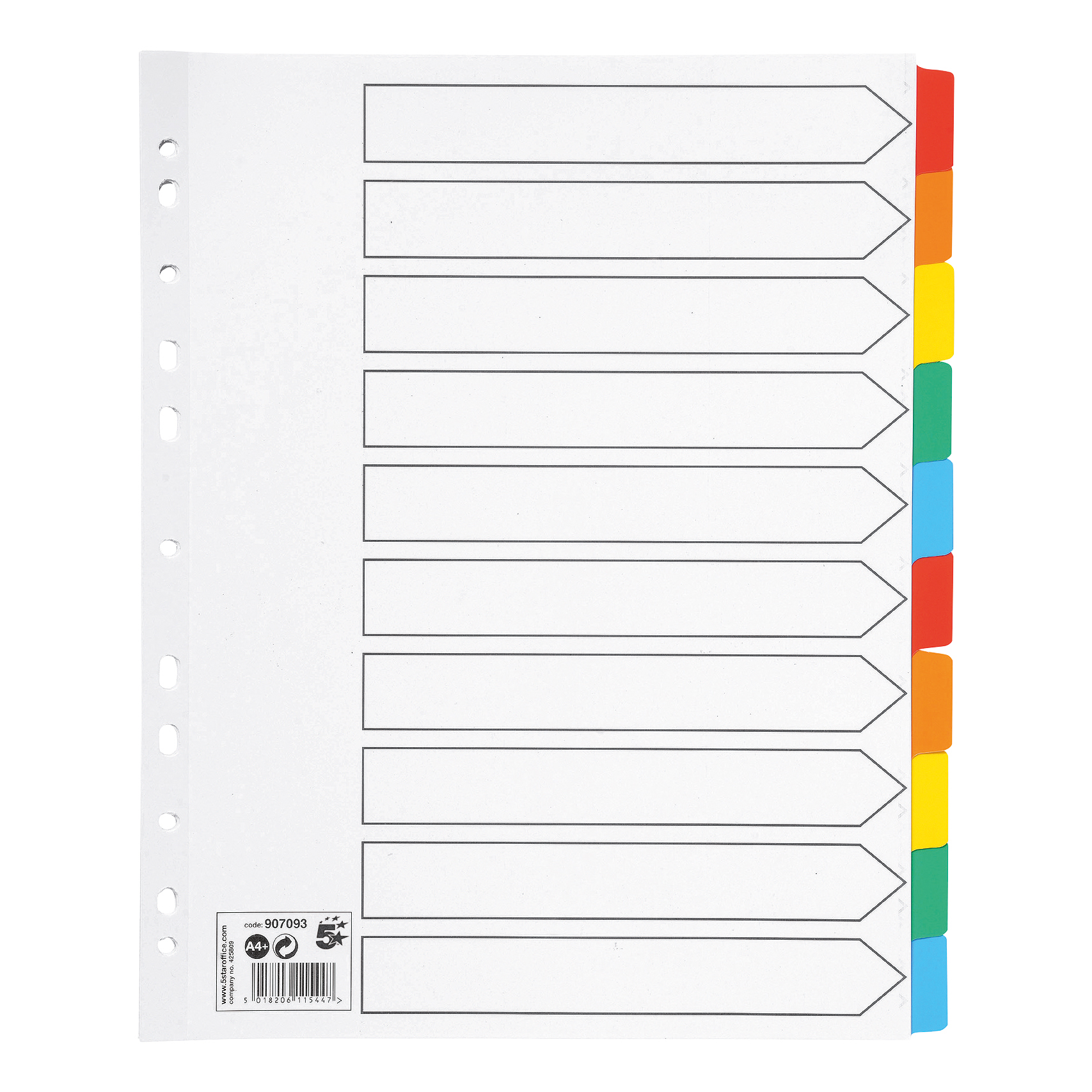 5 Star Office Maxi Index Extra-wide 230 micron Board with Coloured Mylar Tabs 10-Part A4 White