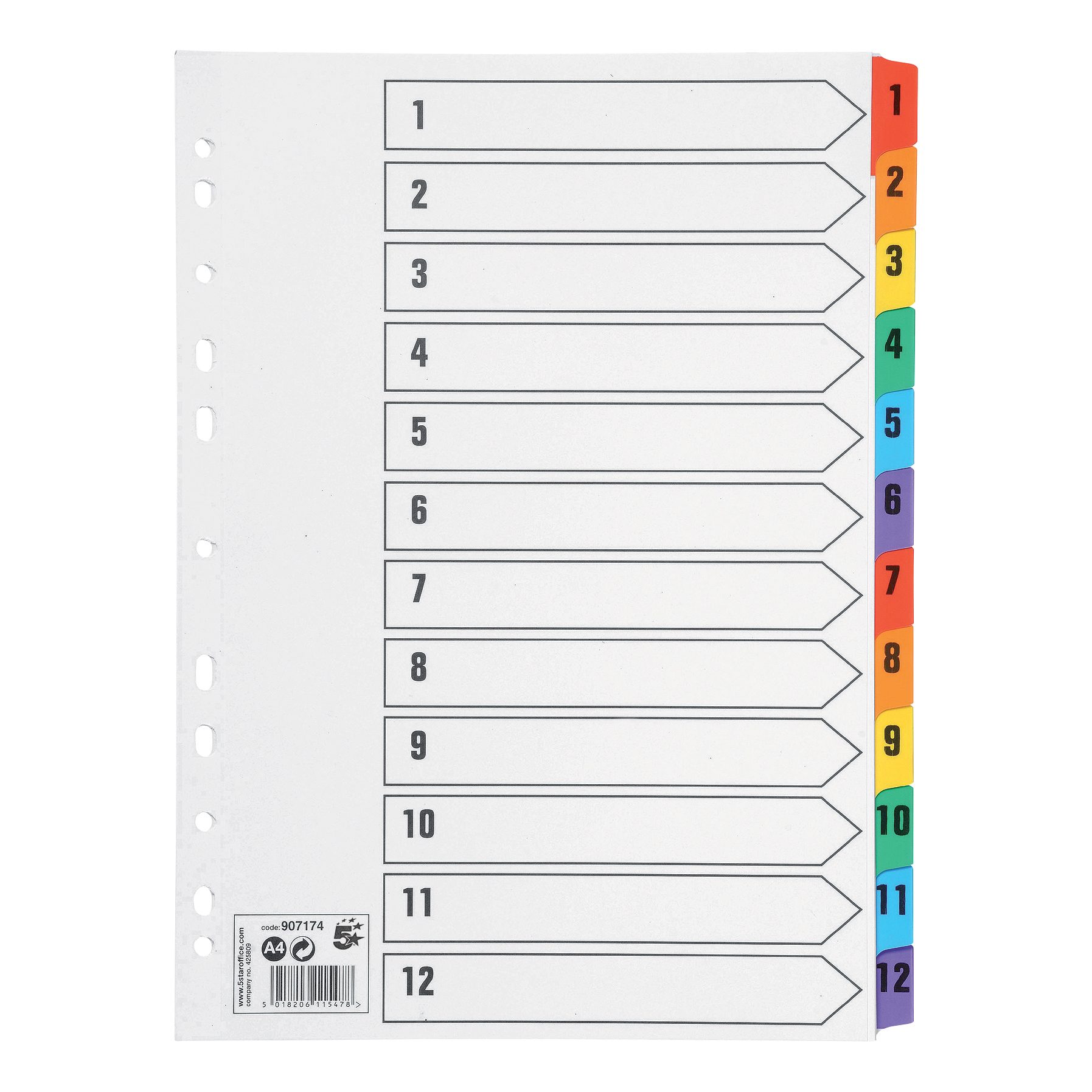 5 Star Office Index 150gsm Card with Coloured Mylar Tabs 1-12 A4 White