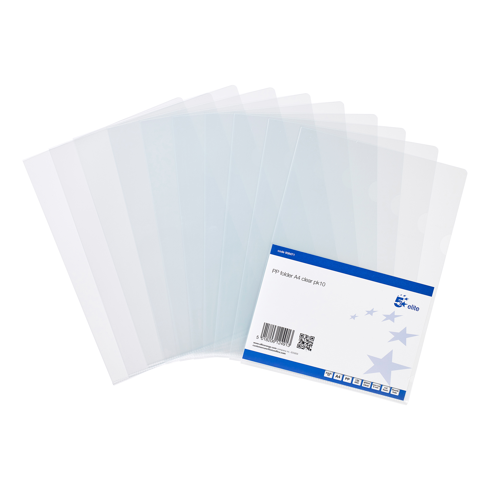 5 Star Folder PVC Cut Flush A4 Clear [Pack 10]