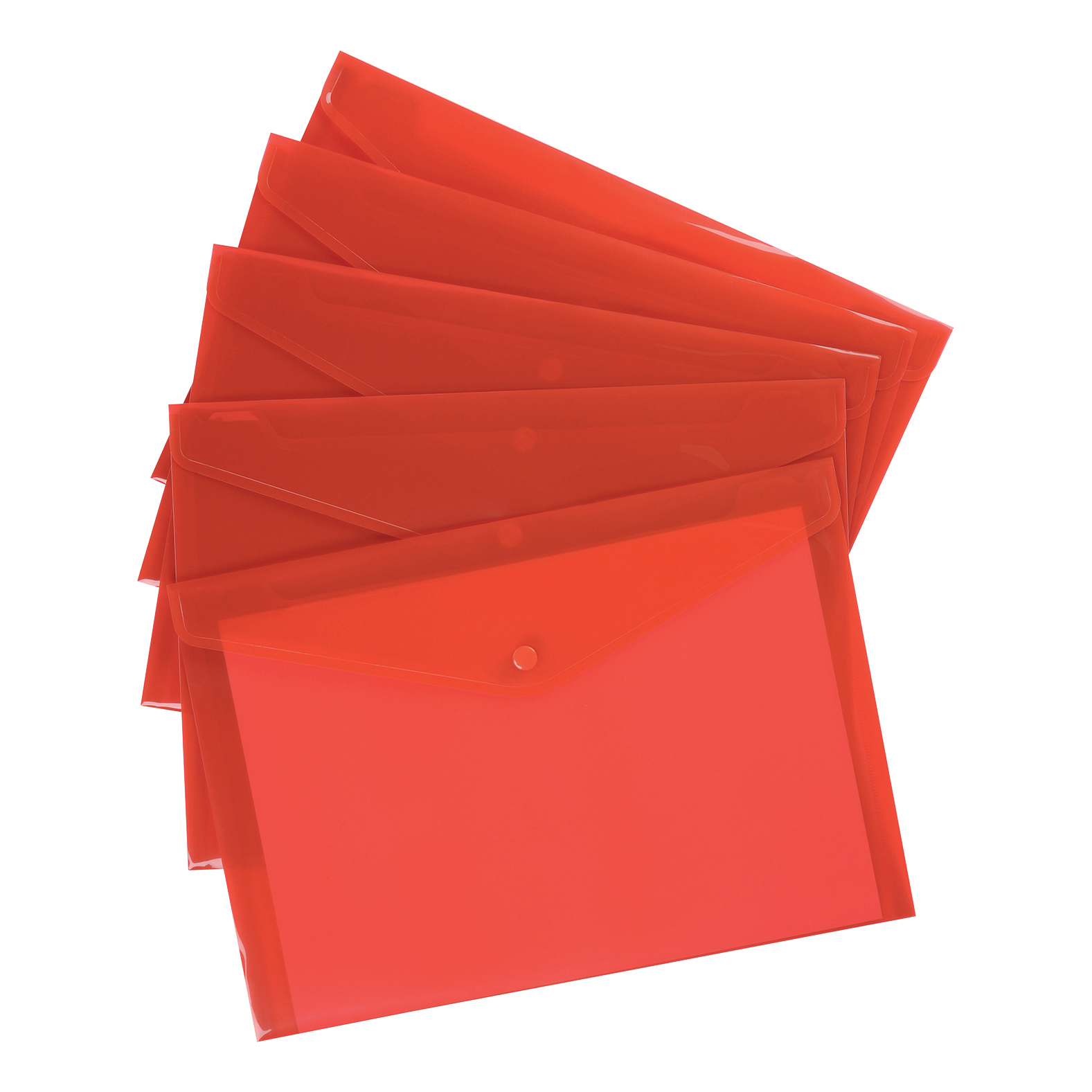 5 Star Premier Envelope Wallet Polypropylene A4 Translucent Red Pack 5