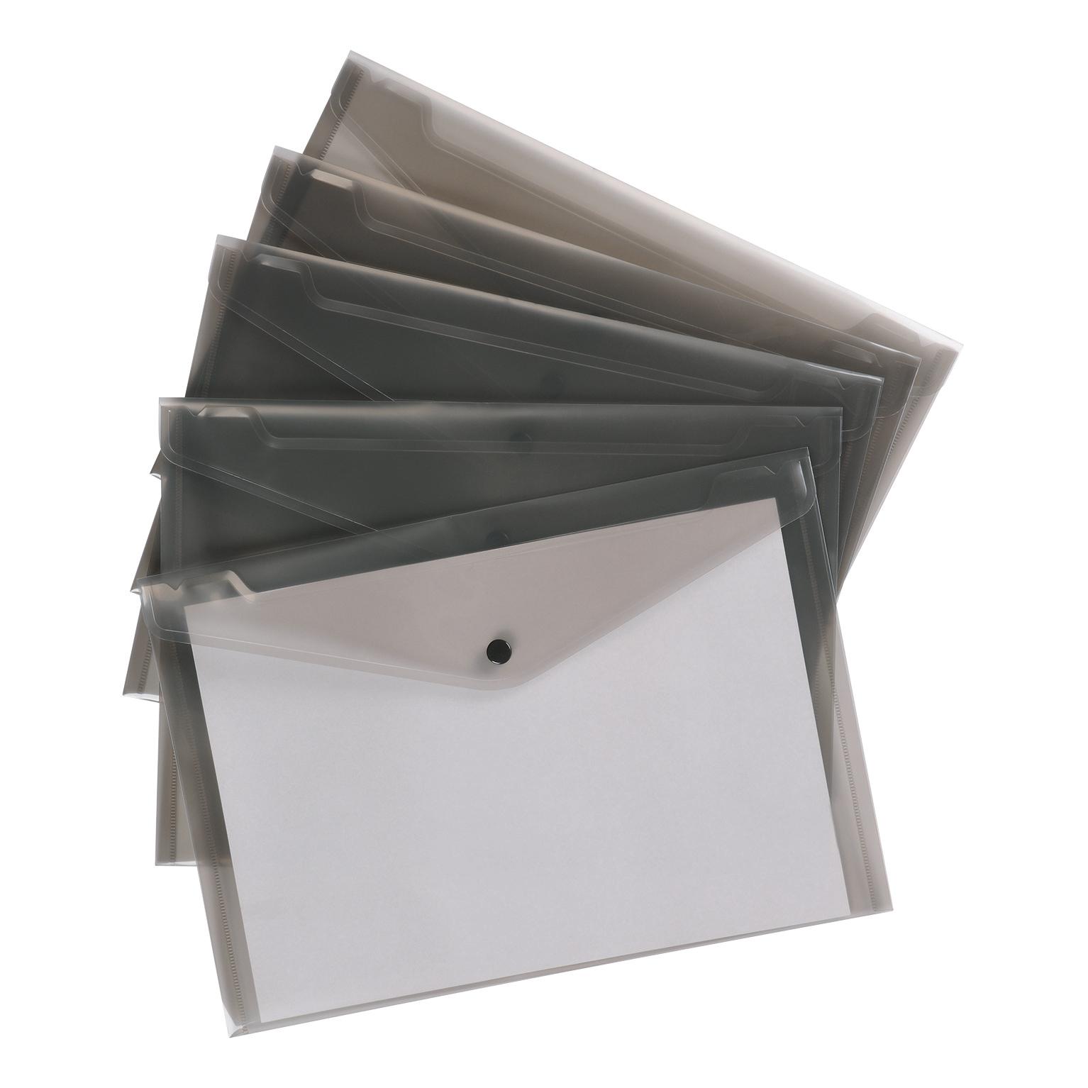 5 Star Premier Envelope Wallet Polypropylene A4 Translucent Smoke Pack 5