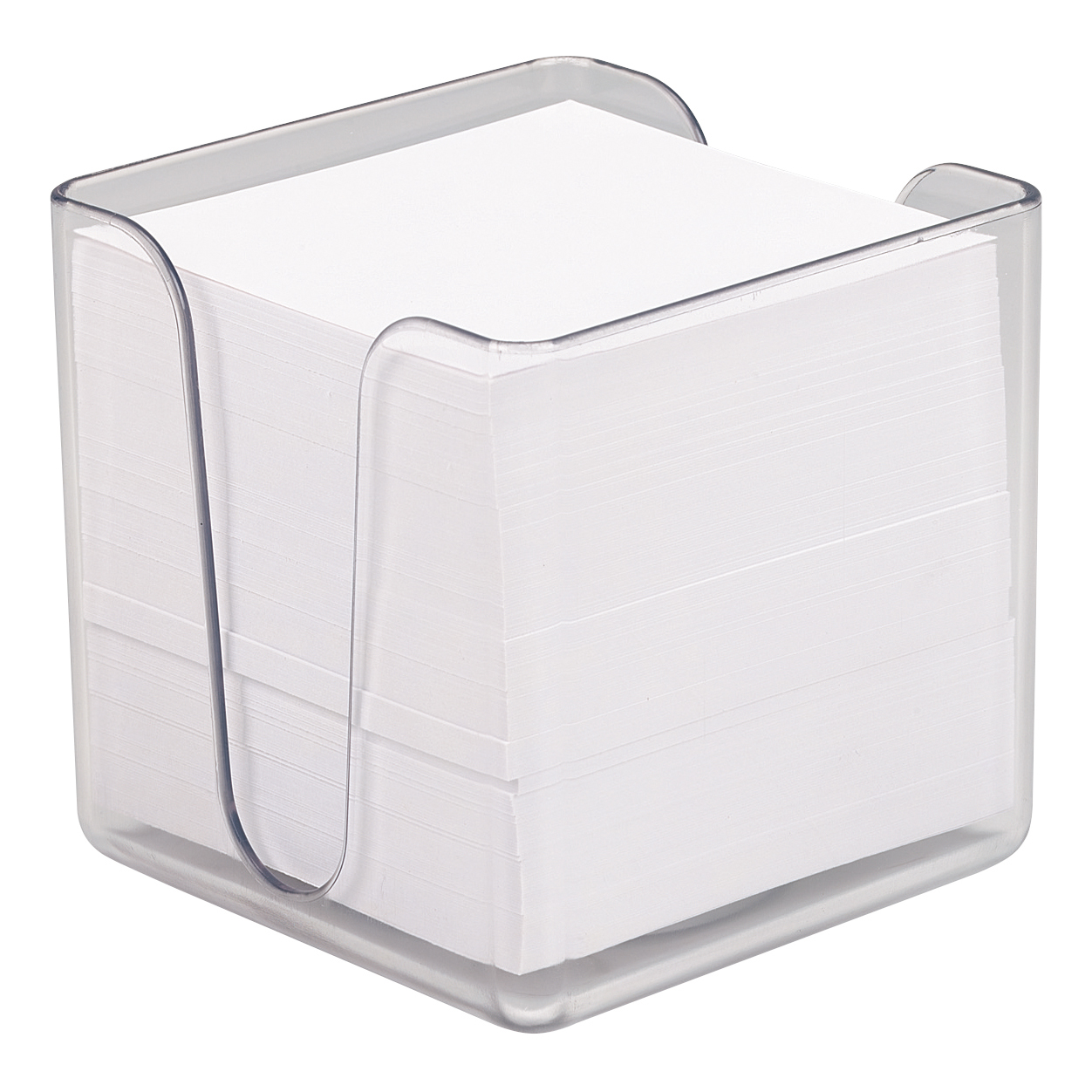 5 Star Office Noteholder Cube Transparent with Approx. 750 Sheets of Plain Paper 90x90mm White