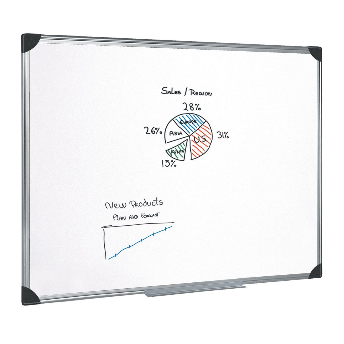 5 Star Whiteboard Drywipe Magnetic with Pen Tray and Aluminium Trim 1800x1200mm