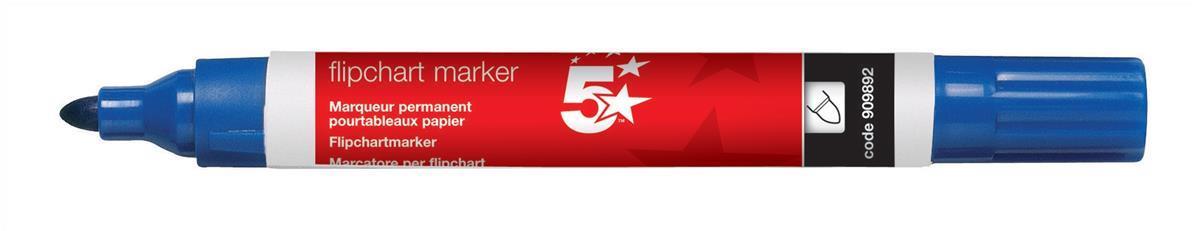 Image for 5 Star Office Flipchart Marker Pen Water-based Bullet Tip 1.5-3mm Line Blue