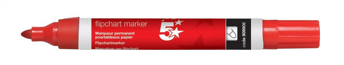 Image for 5 Star Office Flipchart Marker Pen Water-based Bullet Tip 1.5-3mm Line Red
