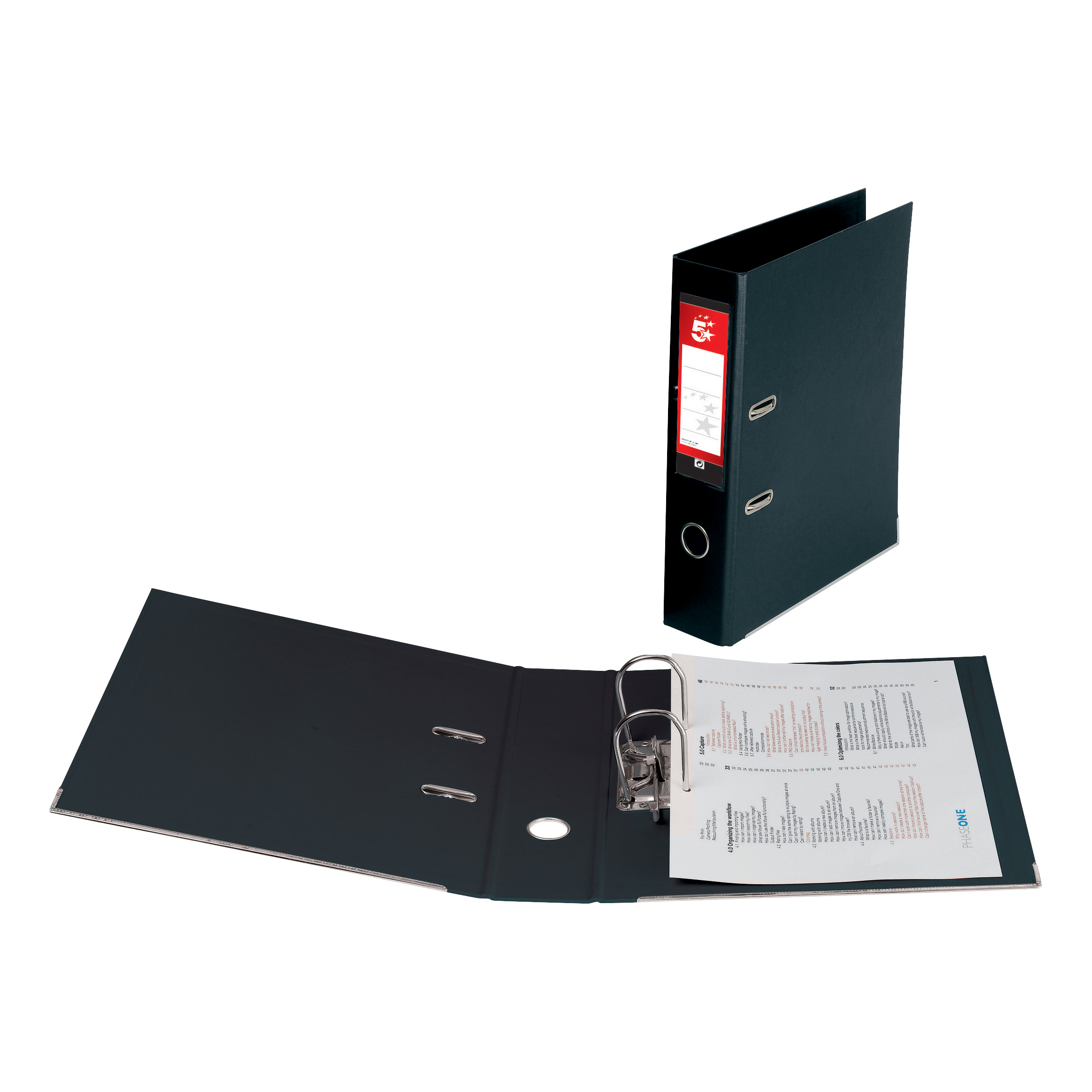 5 Star Premier Lever Arch File PVC Spine 70mm Foolscap Black