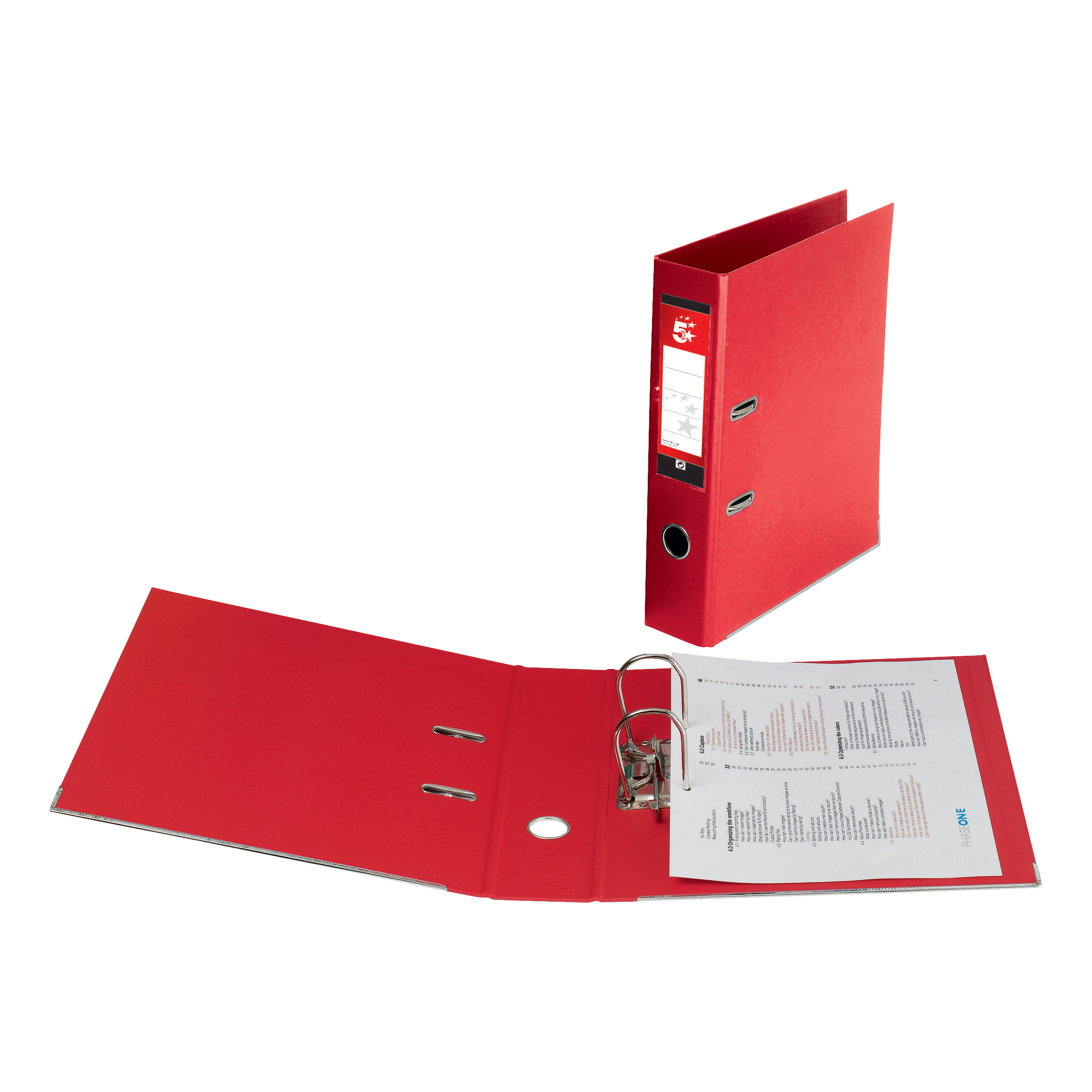 5 Star Office Lever Arch File Polypropylene Capacity 70mm Foolscap Red [Pack 10]