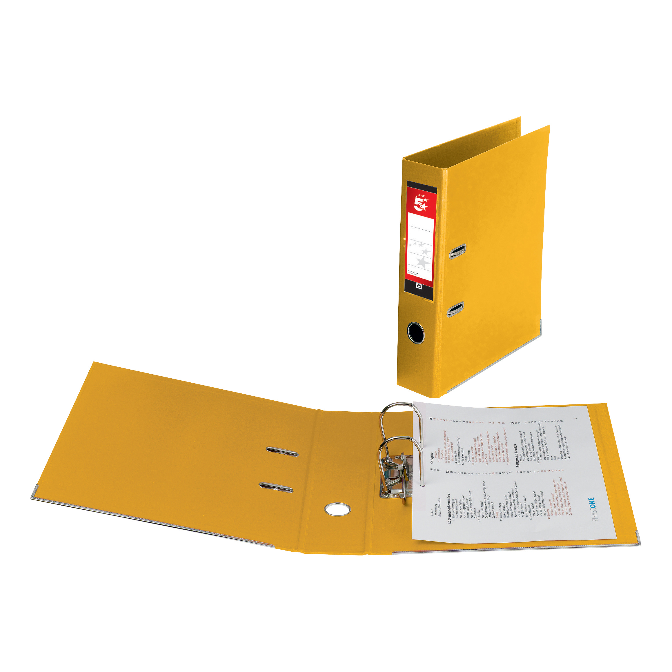 5 Star Office Lever Arch File Polypropylene Capacity 70mm Foolscap Yellow [Pack 10]