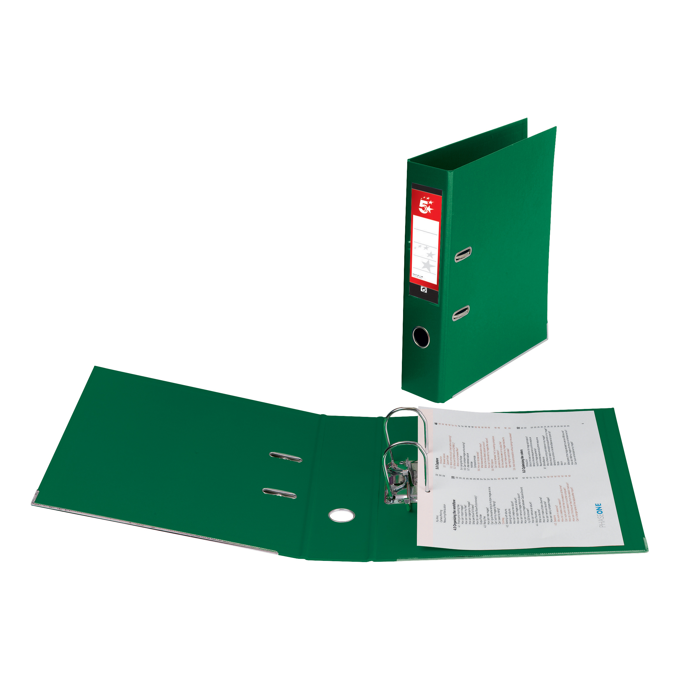 5 Star Office Lever Arch File Polypropylene Capacity 70mm Foolscap Green [Pack 10]