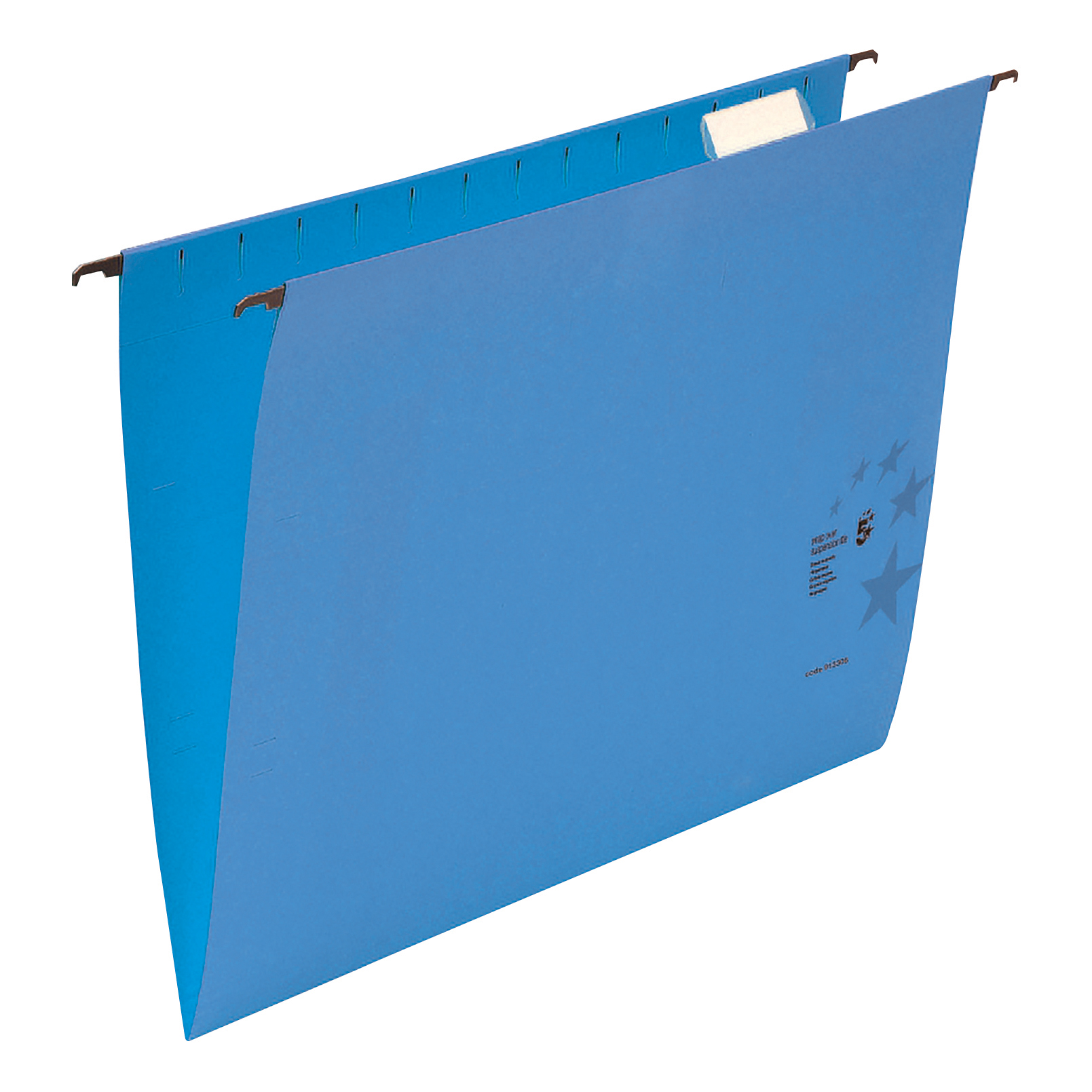 5 Star Office Suspension File with Tabs and Inserts Manilla 15mm V-base 230gsm Foolscap Blue [Pack 50]