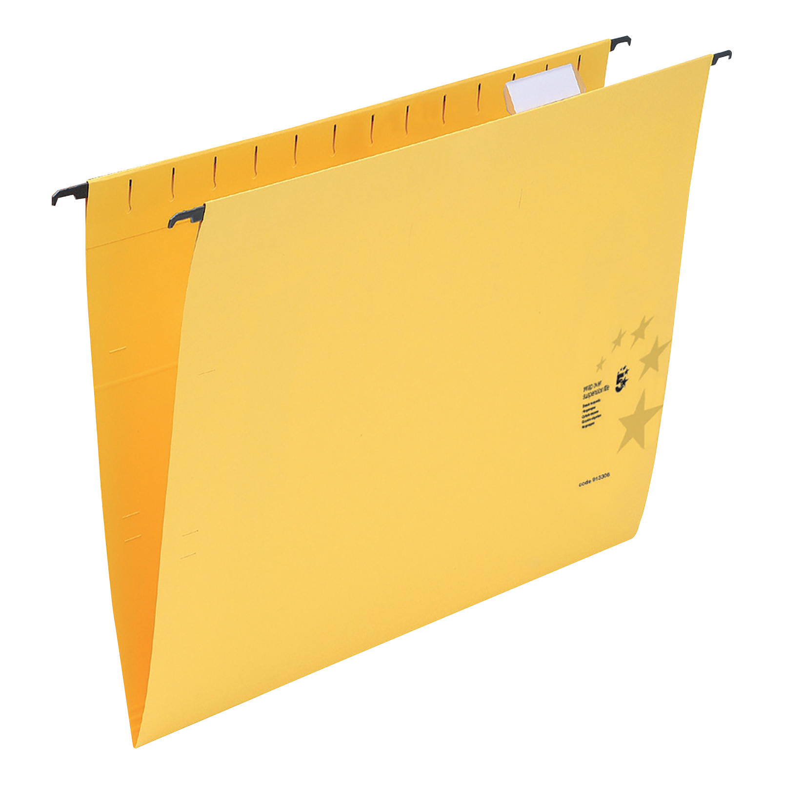 5 Star Office Suspension File with Tabs and Inserts Manilla 15mm V-base 230gsm Foolscap Yellow [Pack 50]