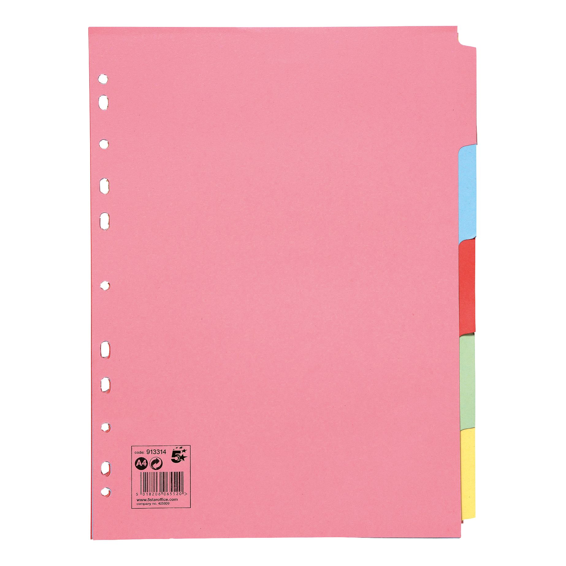 5 Star Office Subject Dividers Multipunched Manilla Card 5-Part A4 Assorted [Pack 50]