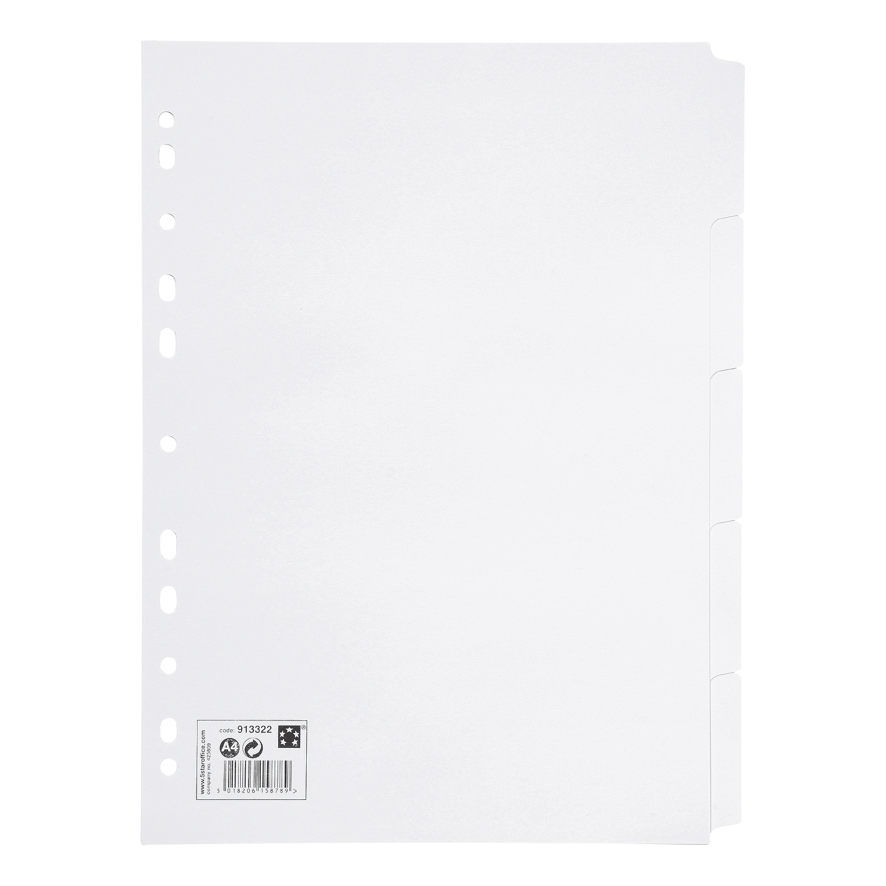 5 Star Office Subject Dividers Multipunched Manilla Card 5-Part A4 White
