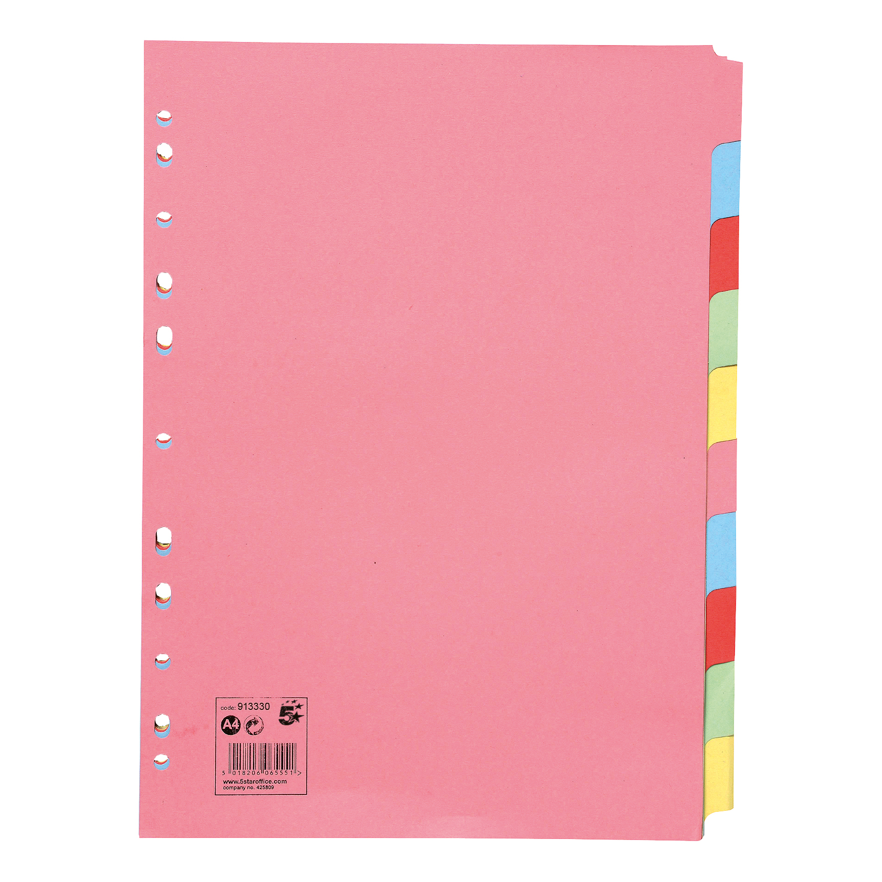5 Star Office Subject Dividers 10-Part Recycled Card Multipunched 155gsm A4 Assorted [Pack 25]
