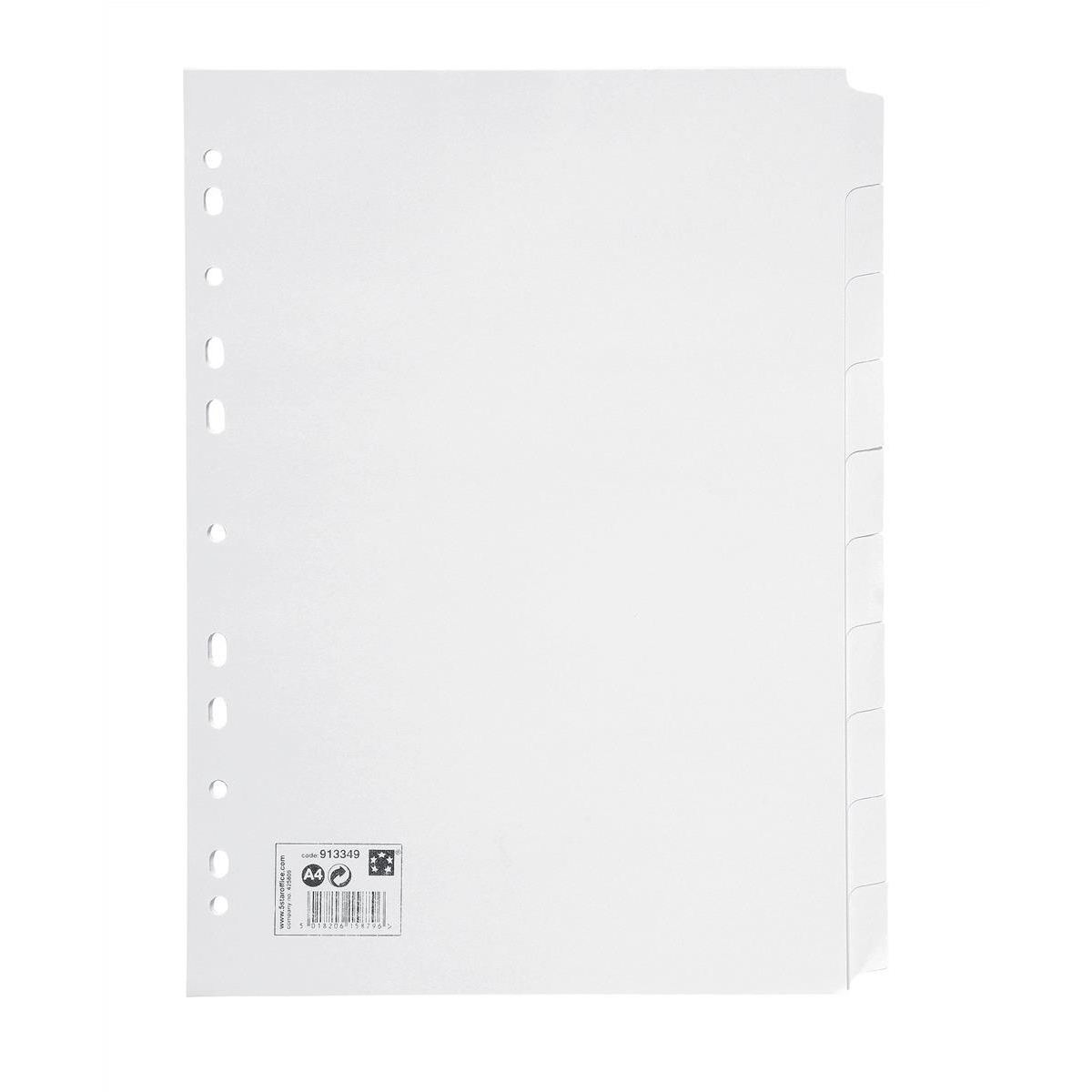 5 Star Office Subject Dividers Multipunched Manilla Card 10-Part A4 White