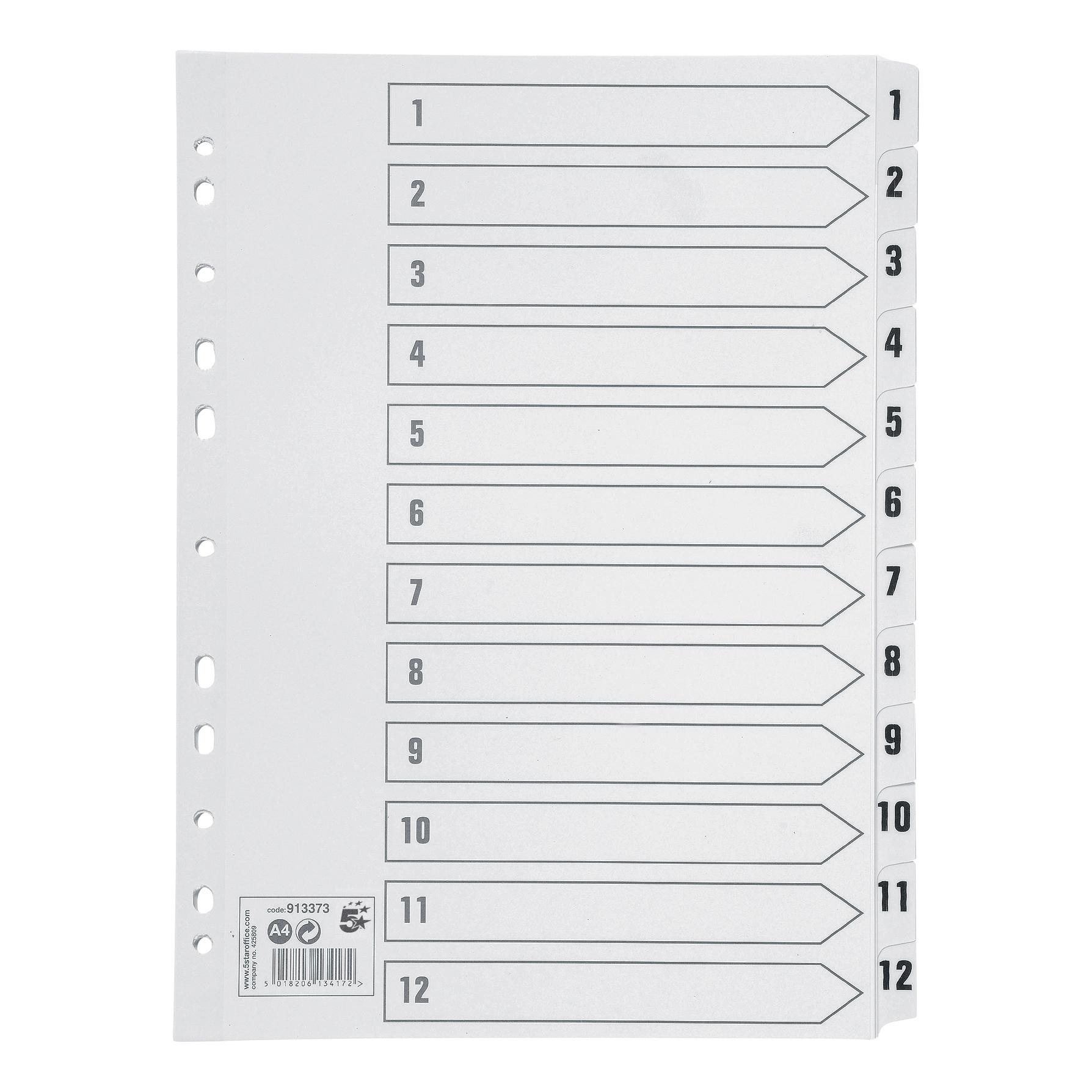 5 Star Office Index 150gsm Card with Mylar Tabs 1-12 A4 White