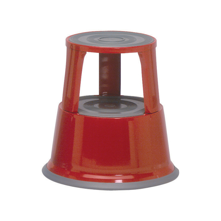 5 Star Office Step Stool Mobile Spring-loaded Castors up to 150kg Top D290x430xBase D435mm 5kg Red