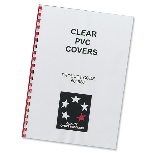 5 Star Office Comb Binding Covers PVC 200 micron A4 Clear Pack 100