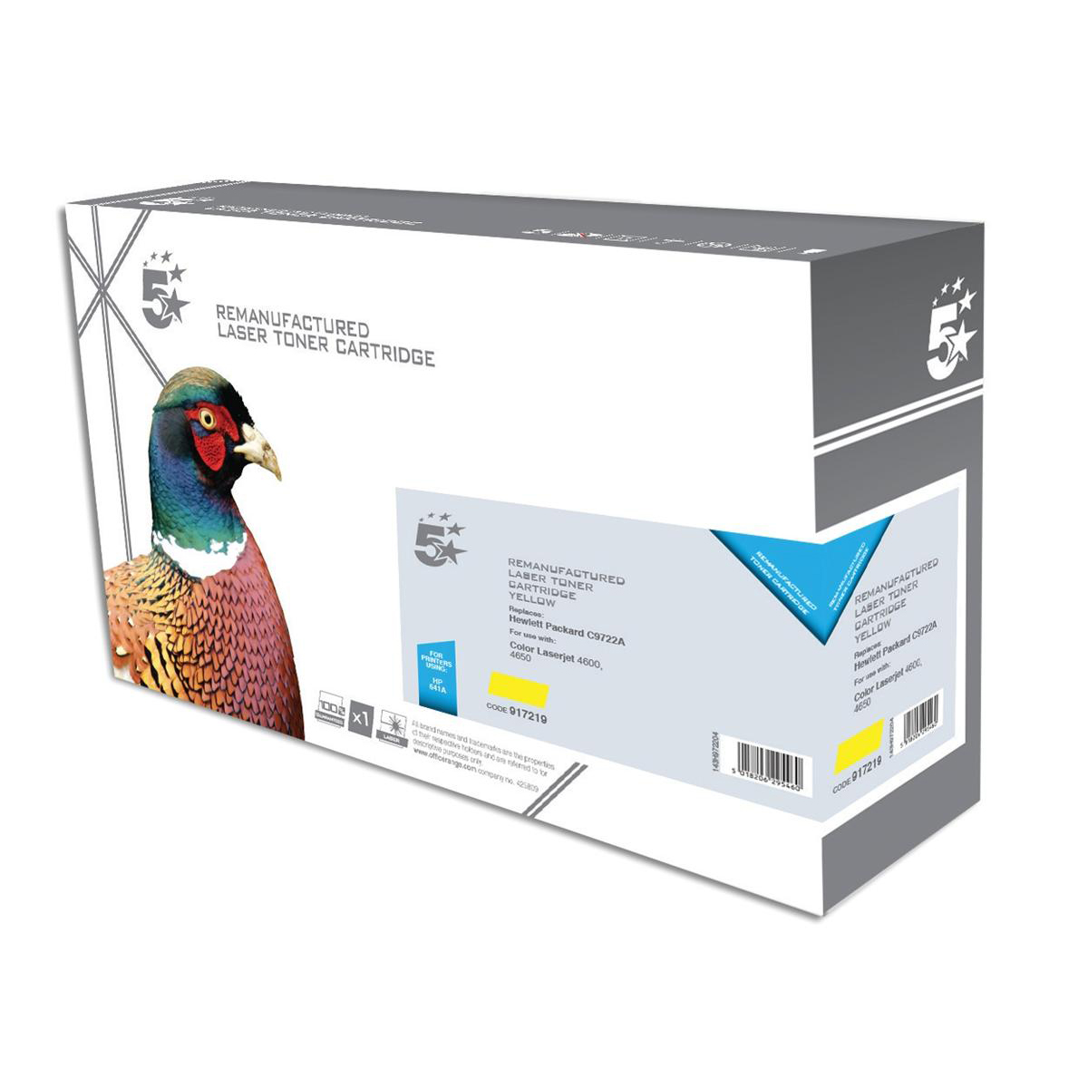 5 Star Office Remanufactured Laser Toner Cartridge 8000pp Yellow [HP No. 641A C9722A Alternative]