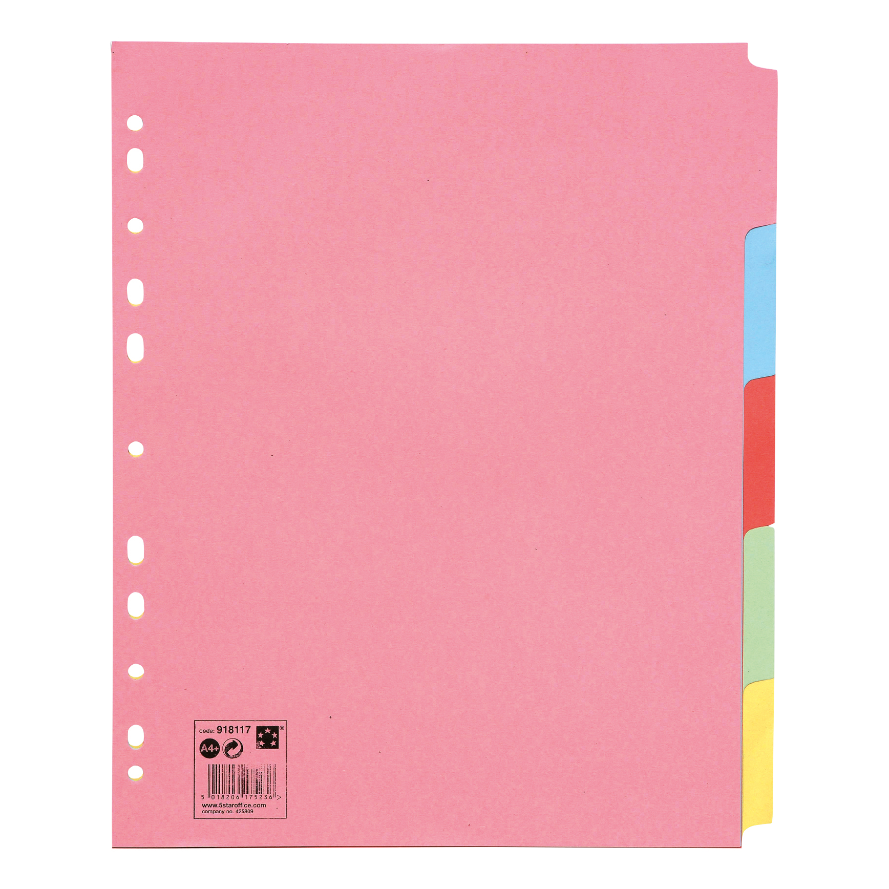 5 Star Office Subject Dividers Multipunched Manilla Card 5-Part Extra Wide A4 Assorted