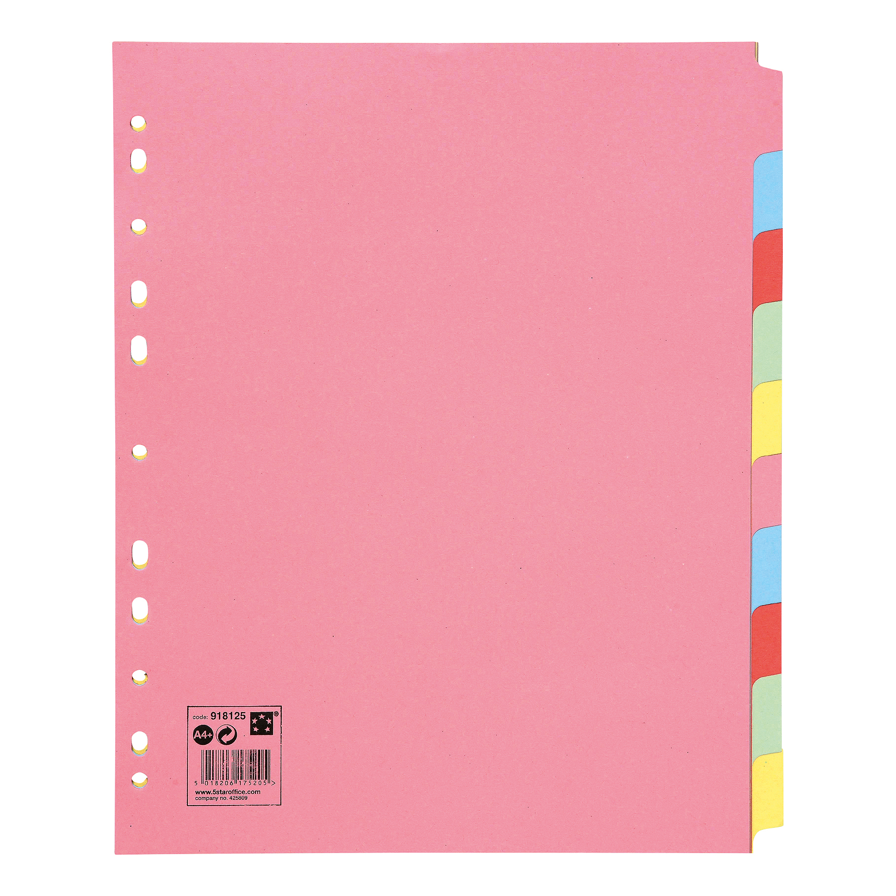 5 Star Office Subject Dividers Multipunched Manilla Card 10-Part Extra Wide A4 Assorted